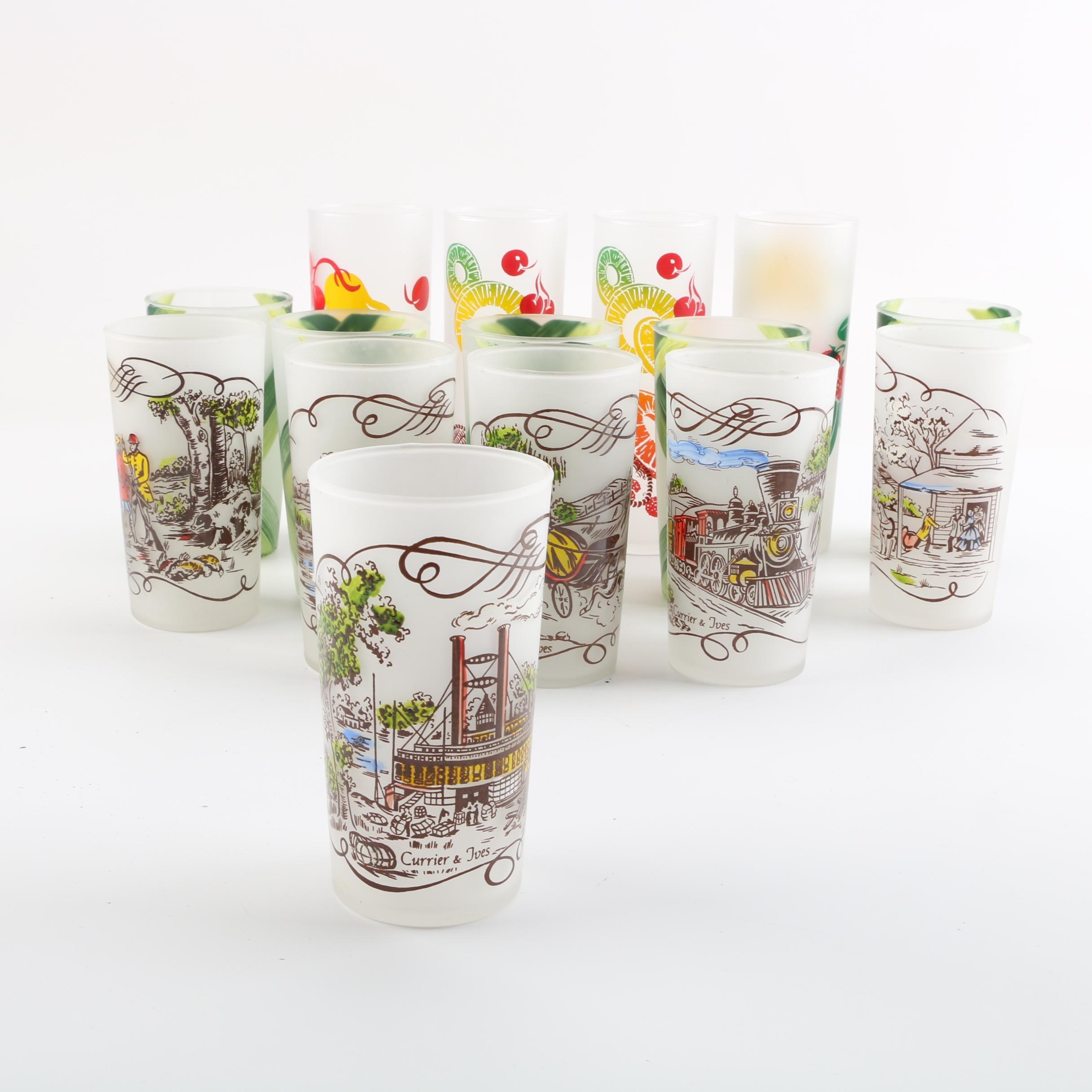 Decorative Frosted Glasses Including Vintage Currier & Ives