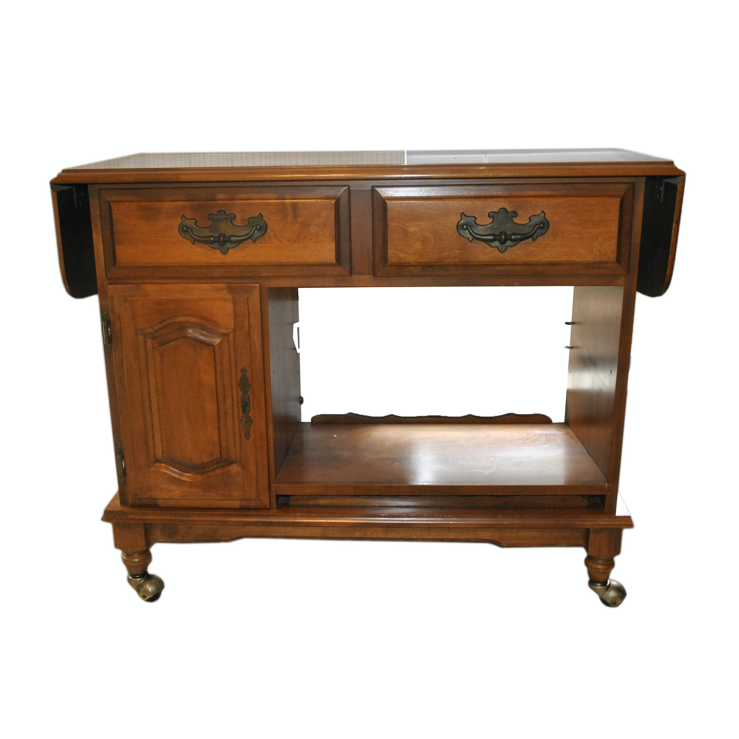 Colonial Style Drop Leaf Buffet Table with Casters