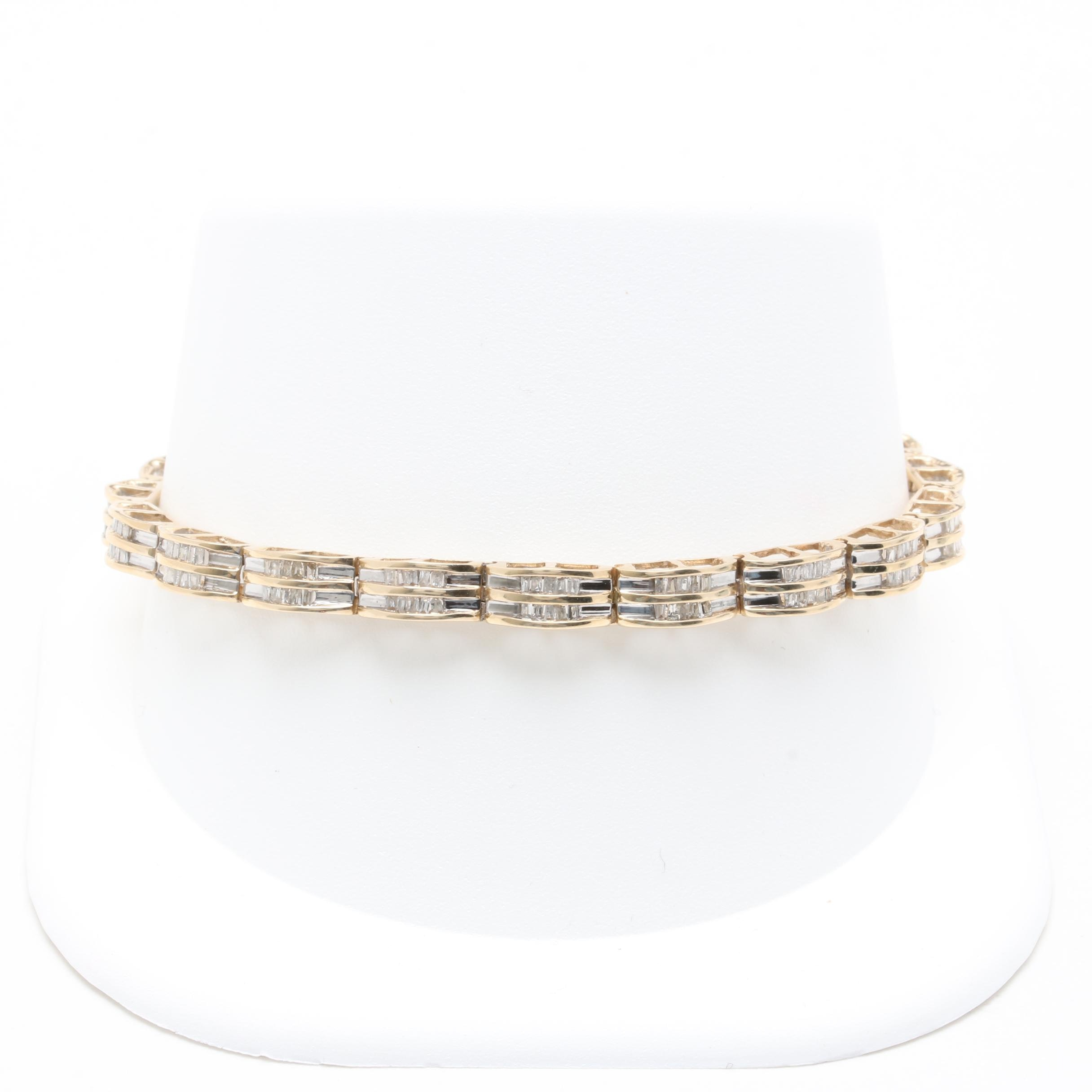10K Yellow Gold 1.45 CTW Diamond Bracelet with White Gold Accents