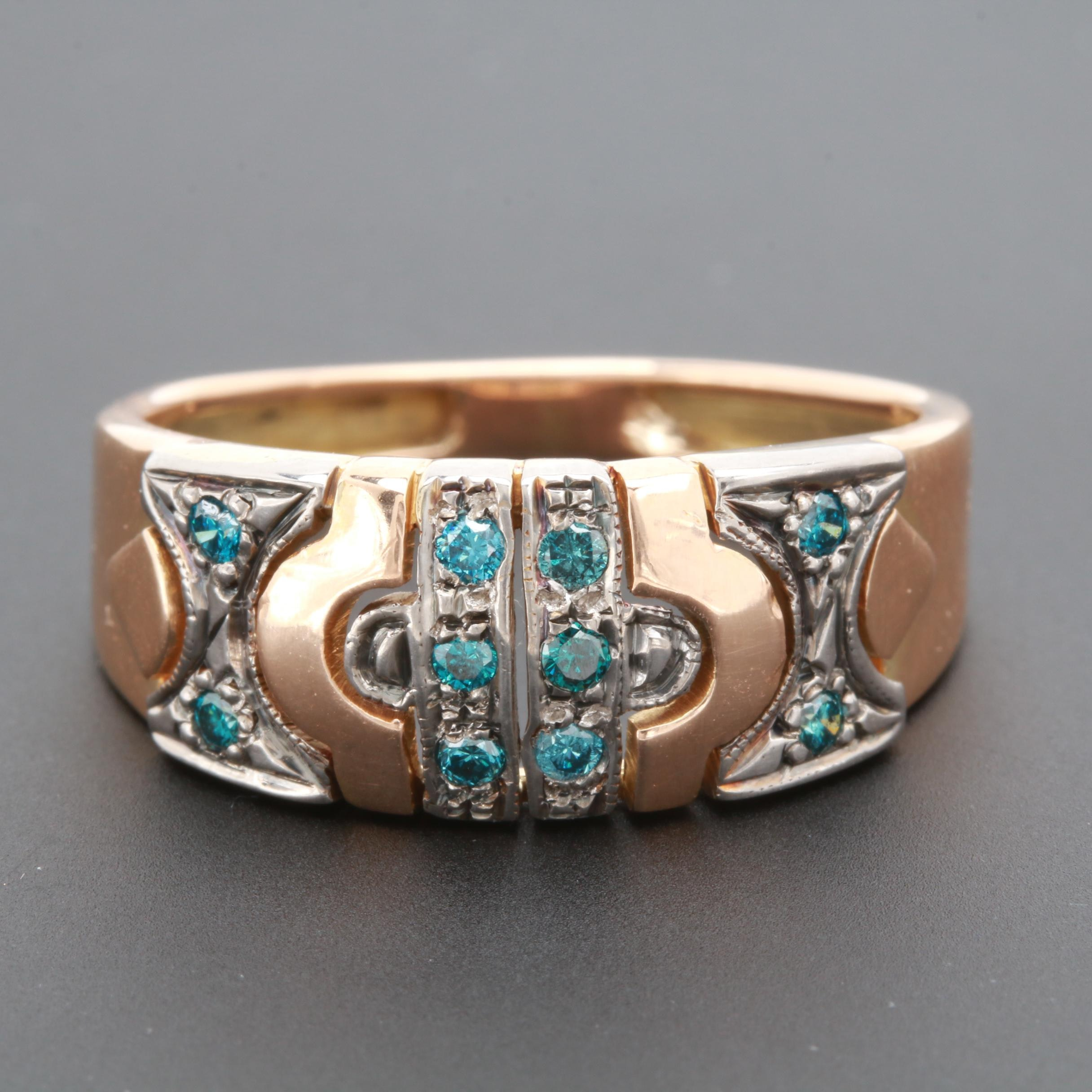 18K Yellow Gold Blue Diamond Ring with Silver Palladium Alloy Accents