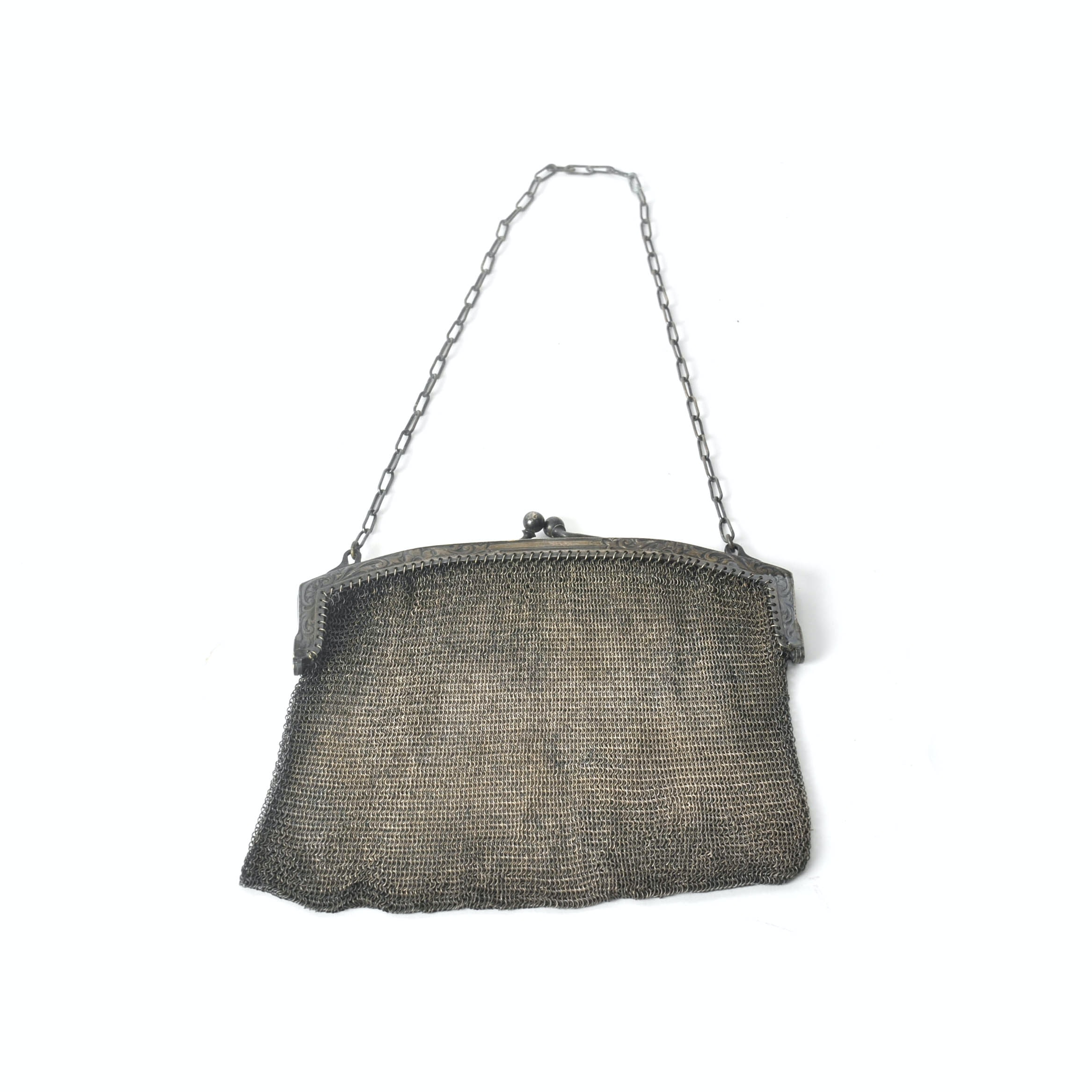 Early 20th Century Whiting & Davis Mesh Purse with Scrolled Frame and Chain