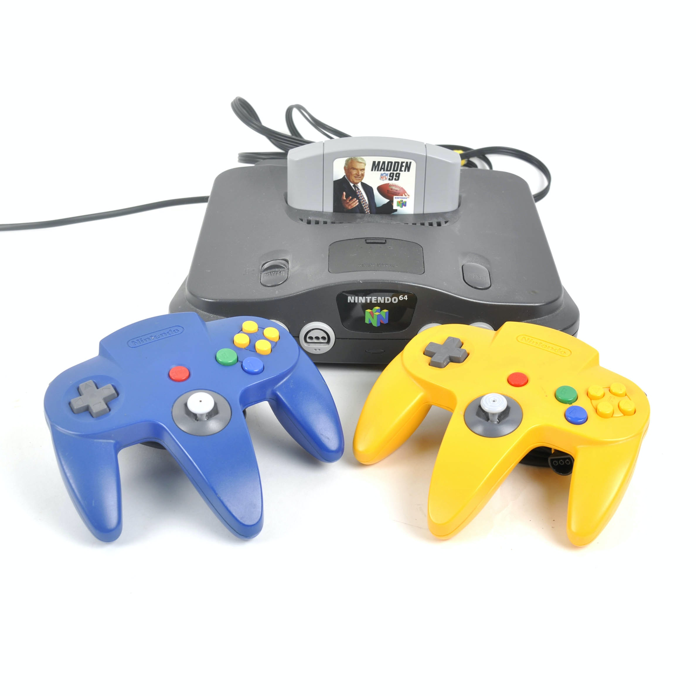 "Nintendo 64 Video Game Console with Controllers and ""Madden 99"""
