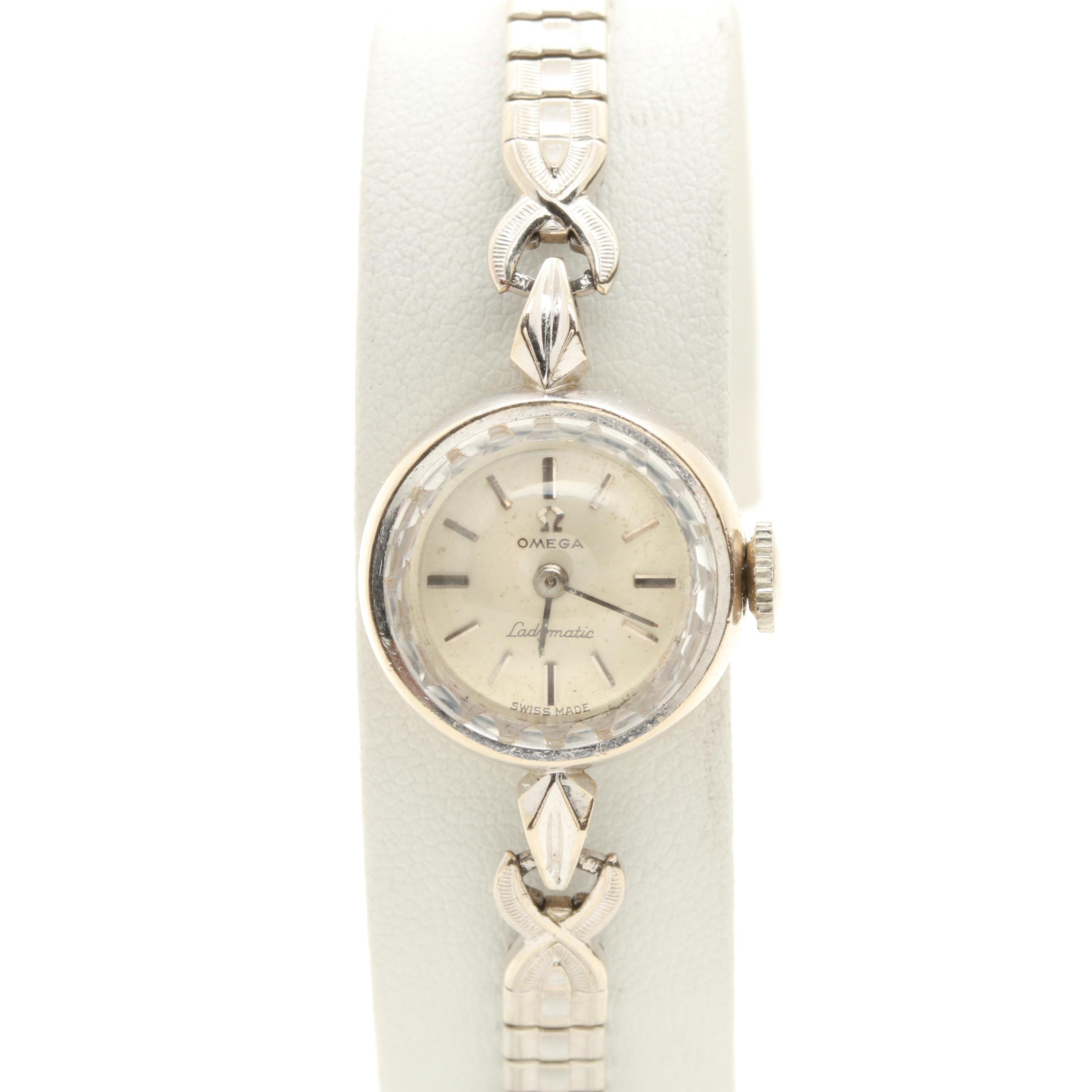 14K White Gold and Stainless Steel Omega Ladymatic Wristwatch