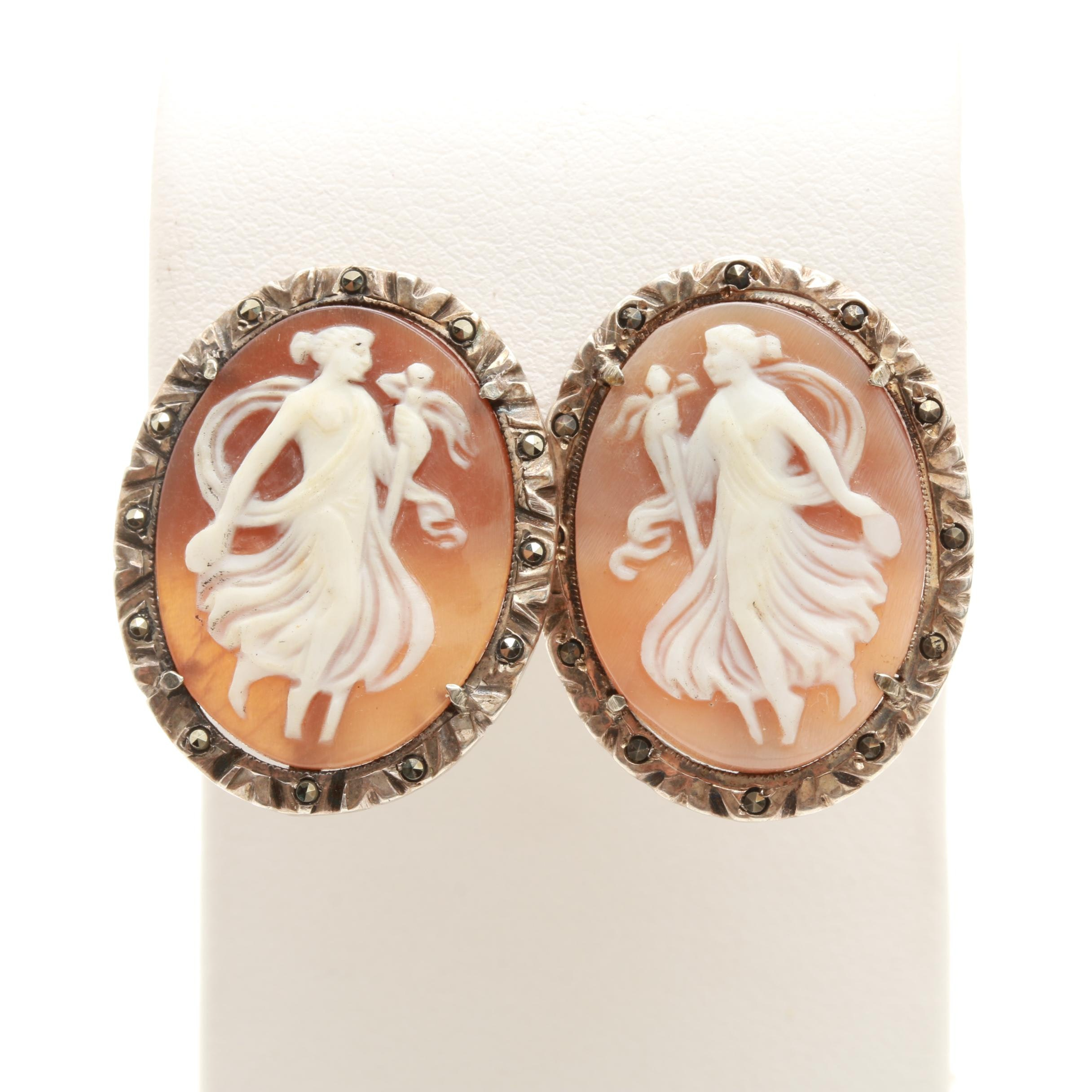 Sterling and 800 Silver Helmet Shell and Marcasite Cameo Earrings