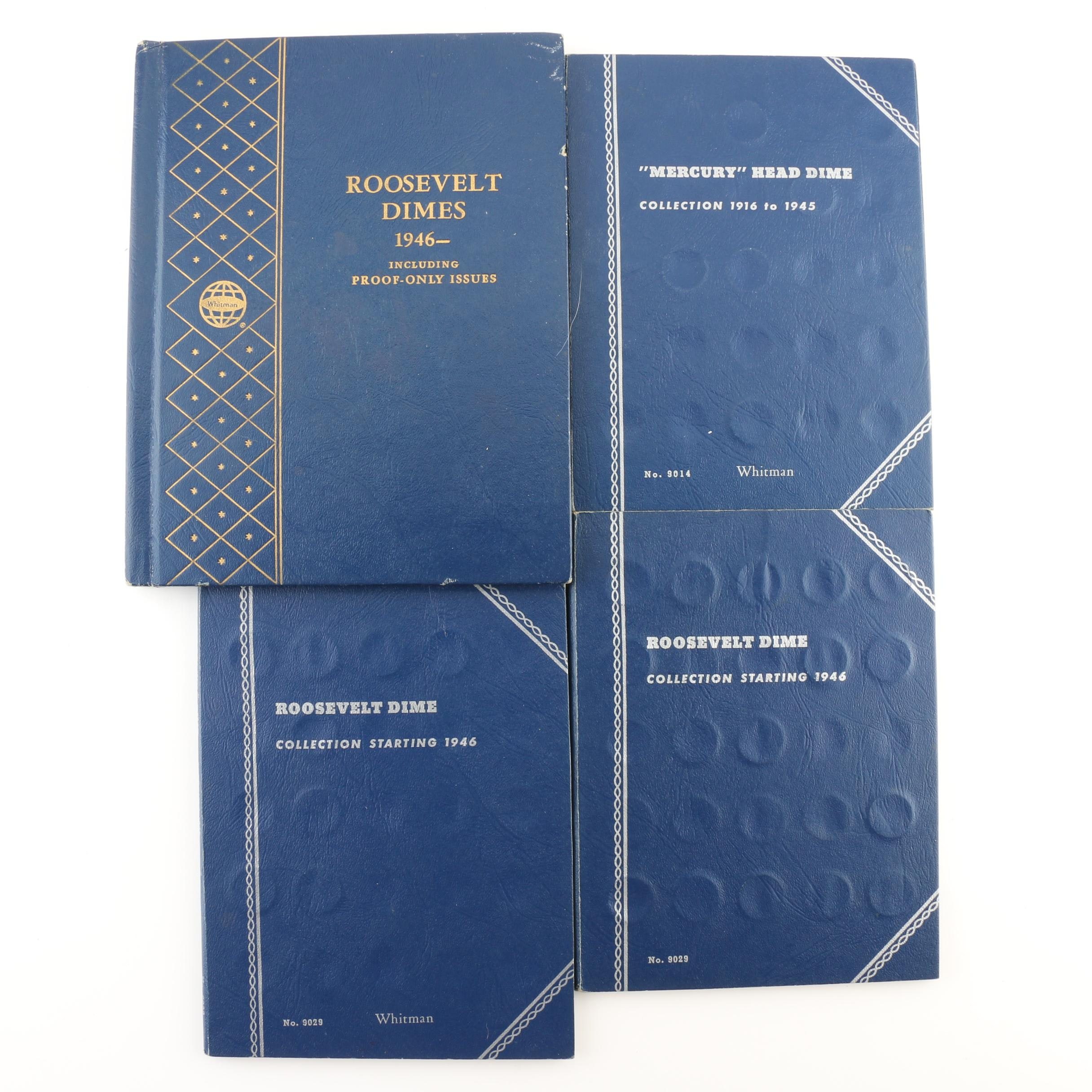 Group of 48 Mercury Dimes and 83 Roosevelt Dimes in Coin Folders