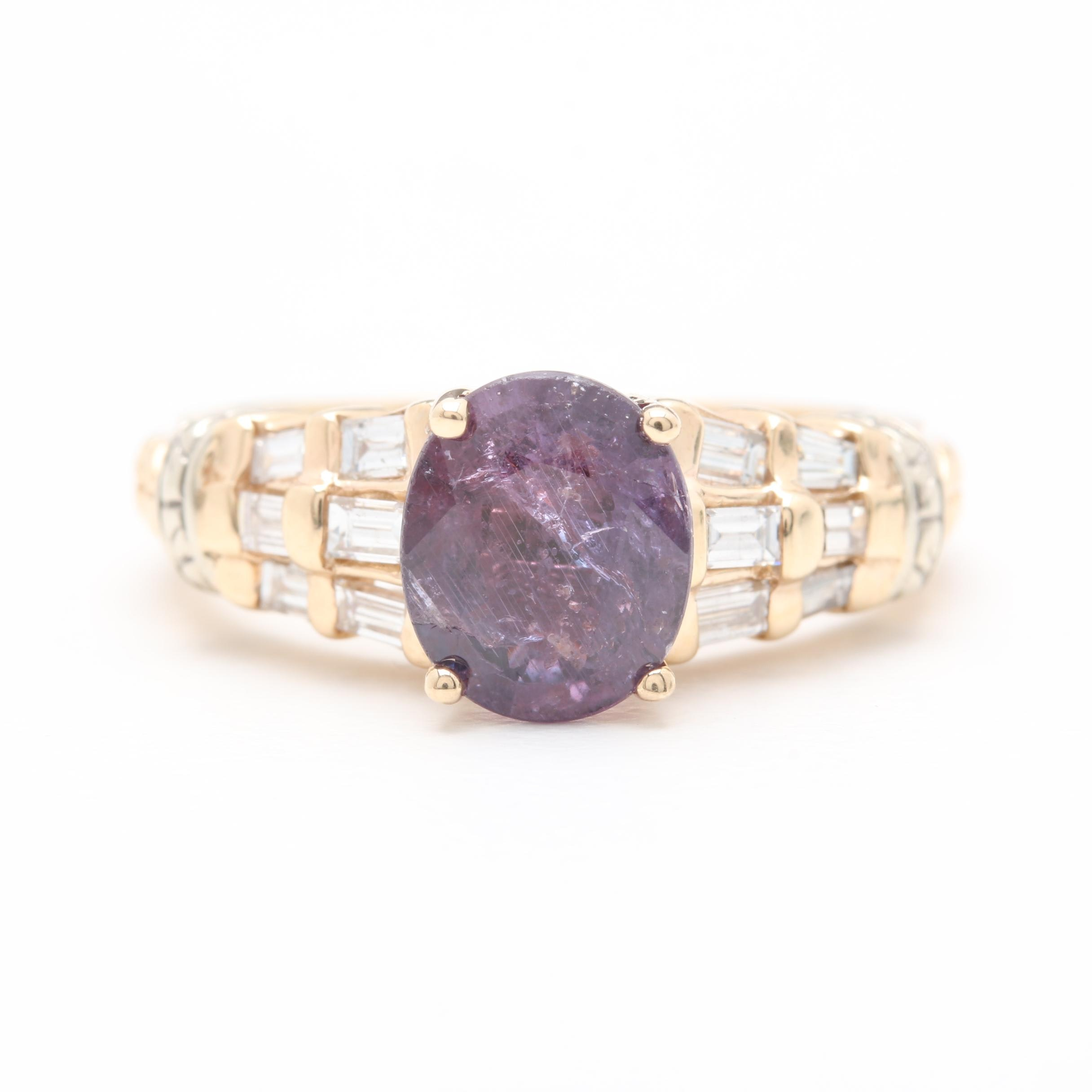 14K Yellow Gold 1.57 CT Purple Sapphire and Diamond Ring