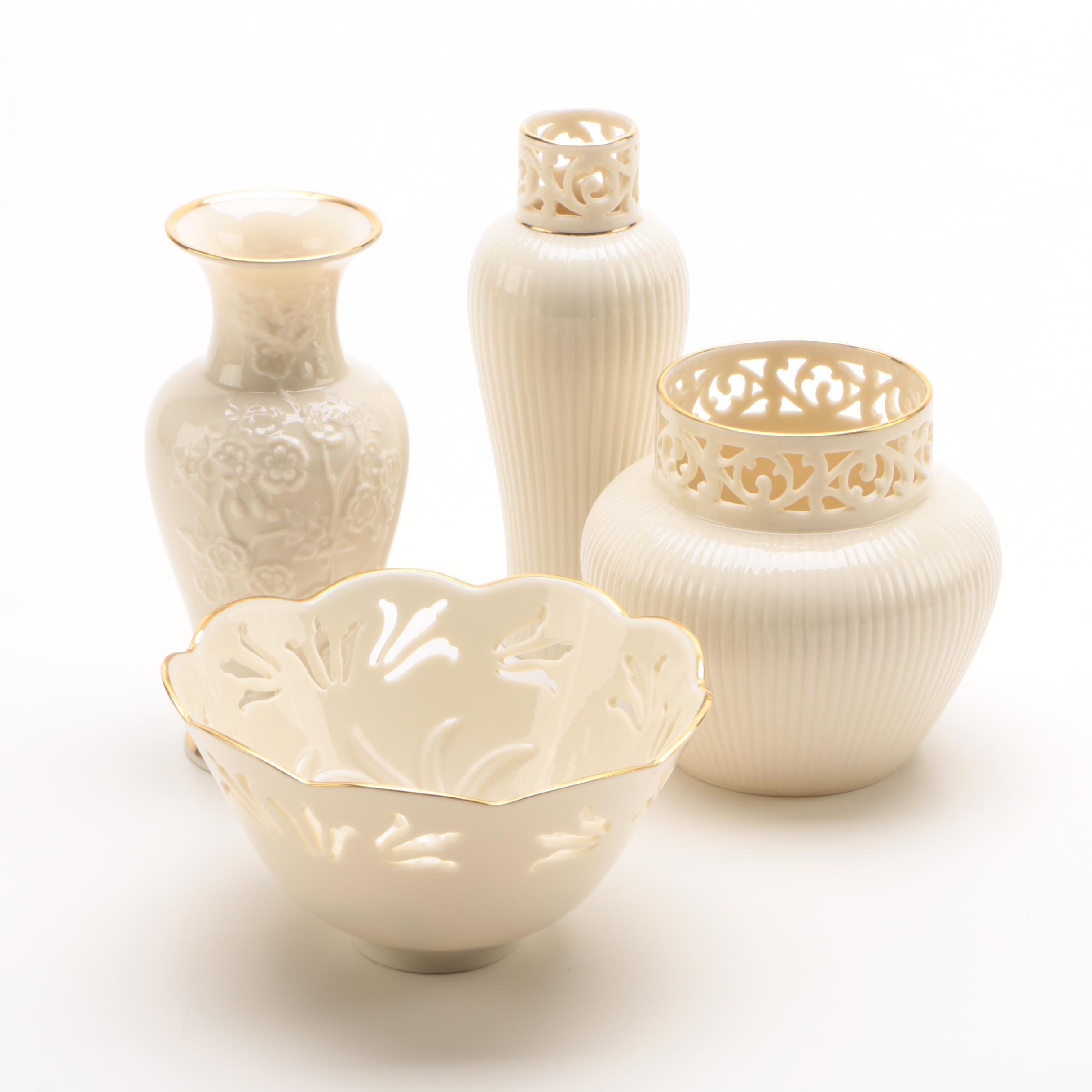 Lenox Porcelain Vases and Decorative Bowl