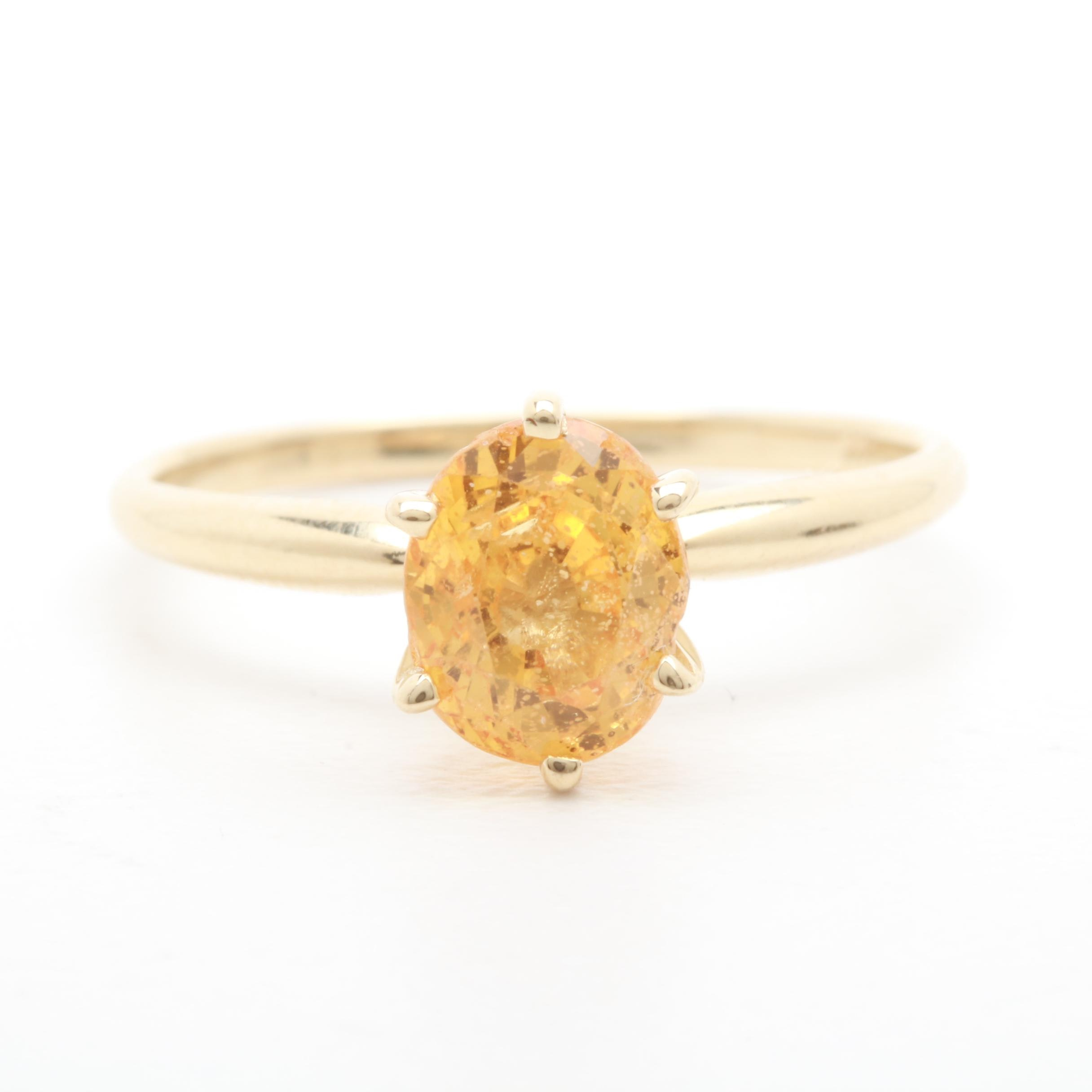 14K Yellow Gold 1.50 CT Yellow Sapphire Solitaire Ring