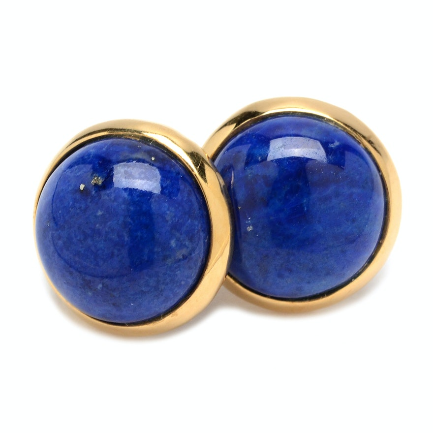 18k Yellow Gold And Lapis Lazuli On Stud Earrings