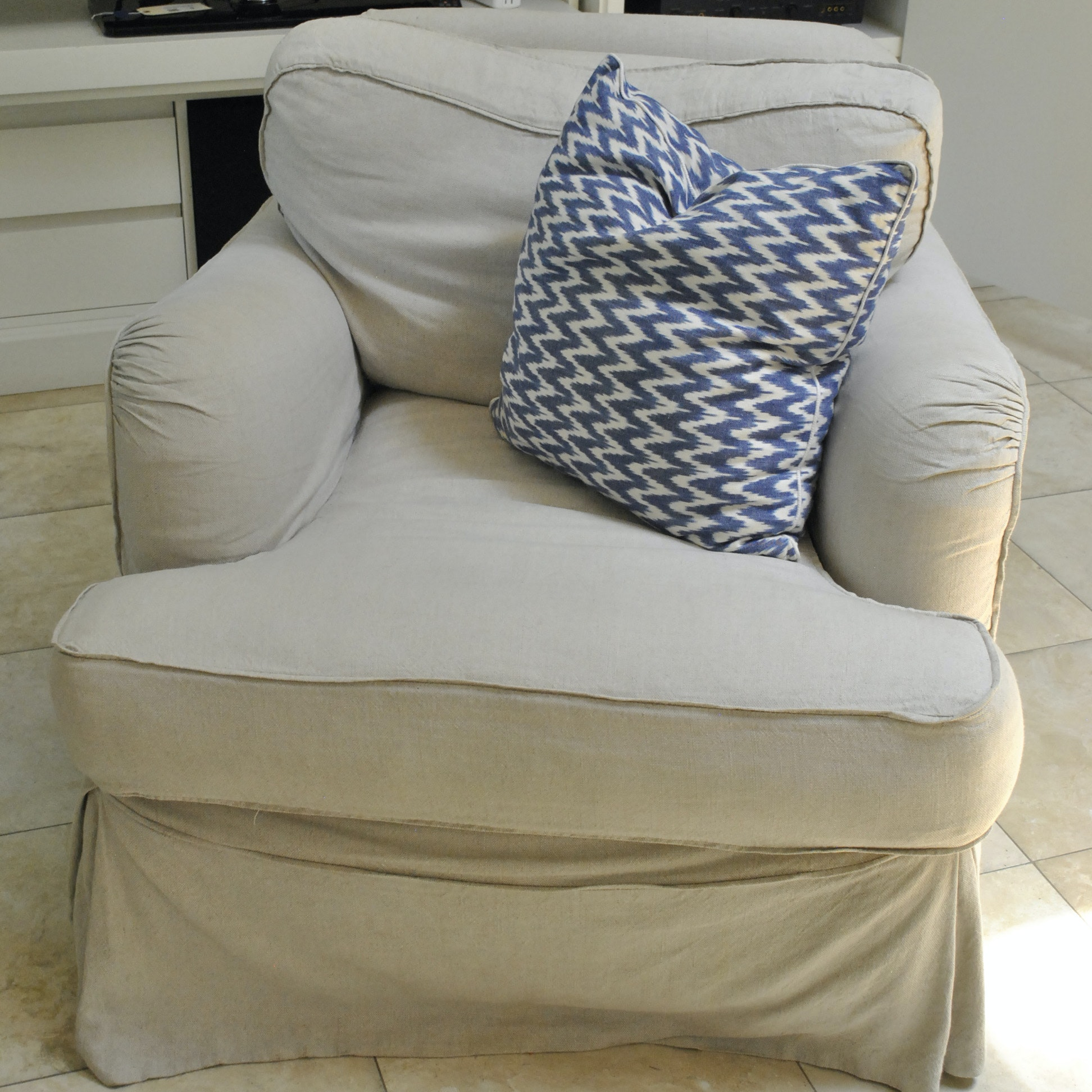 Beige Upholstered Swivel Armchair By Quatrine Furniture ...