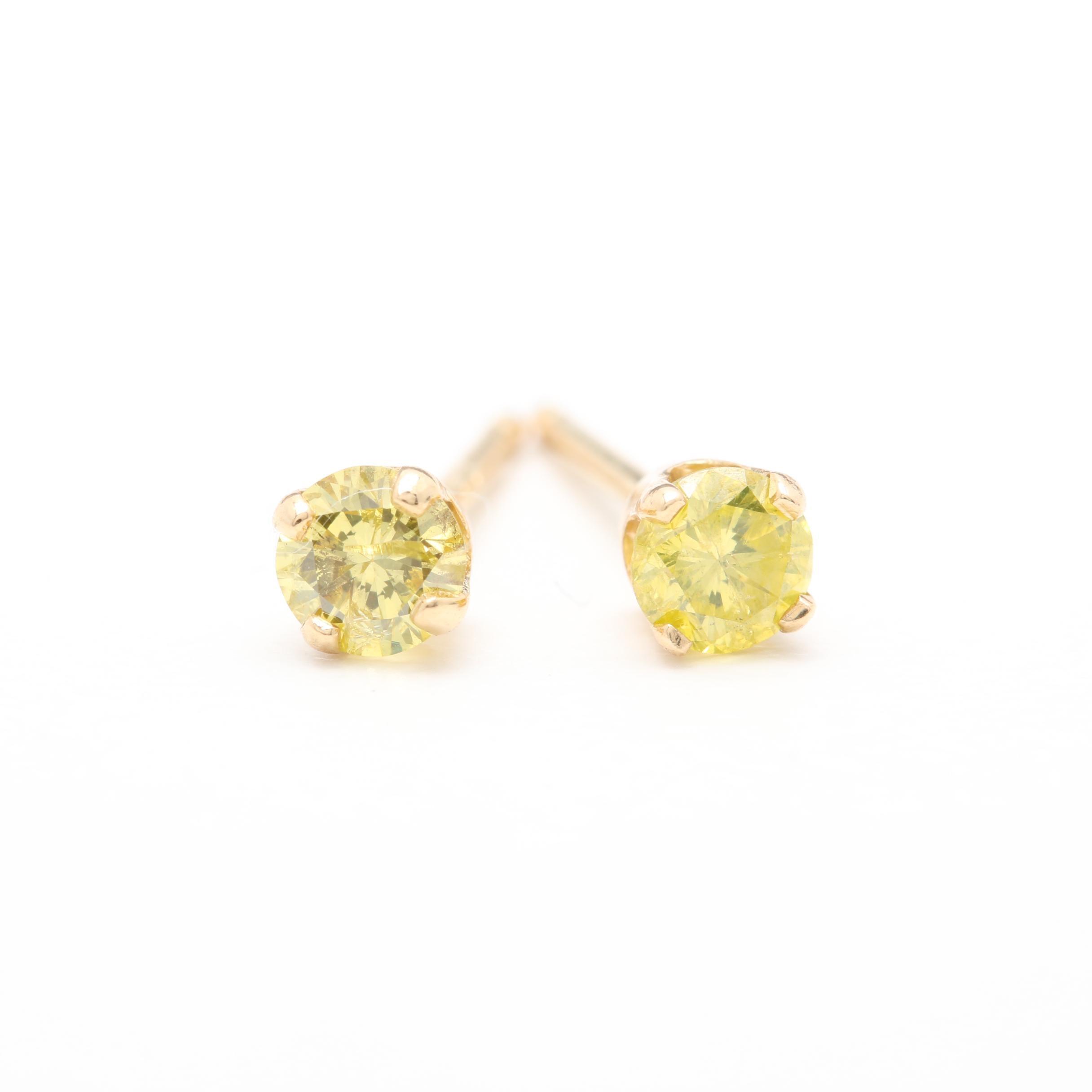 14K Yellow Gold Yellow Diamond Stud Earrings