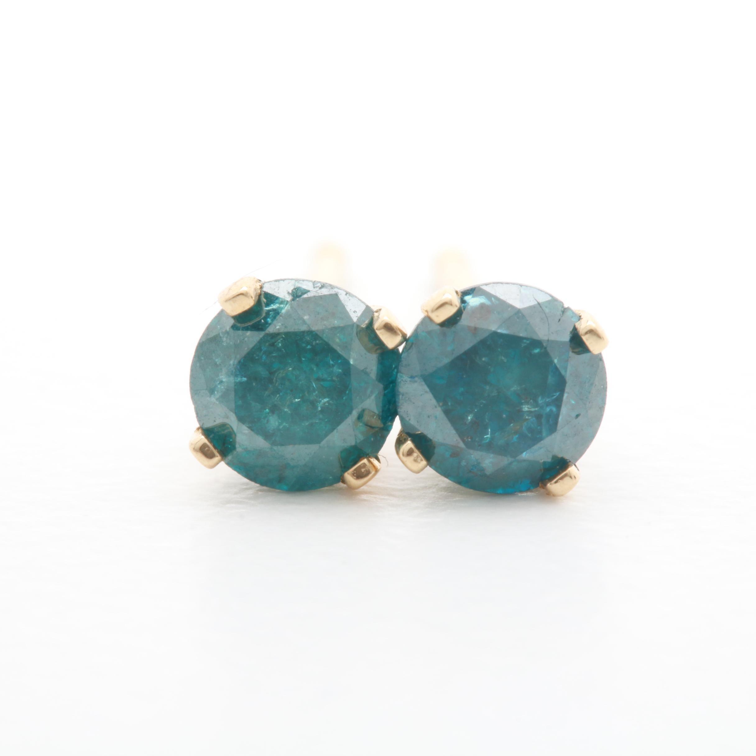 14K Yellow Gold Blue Diamond Stud Earrings