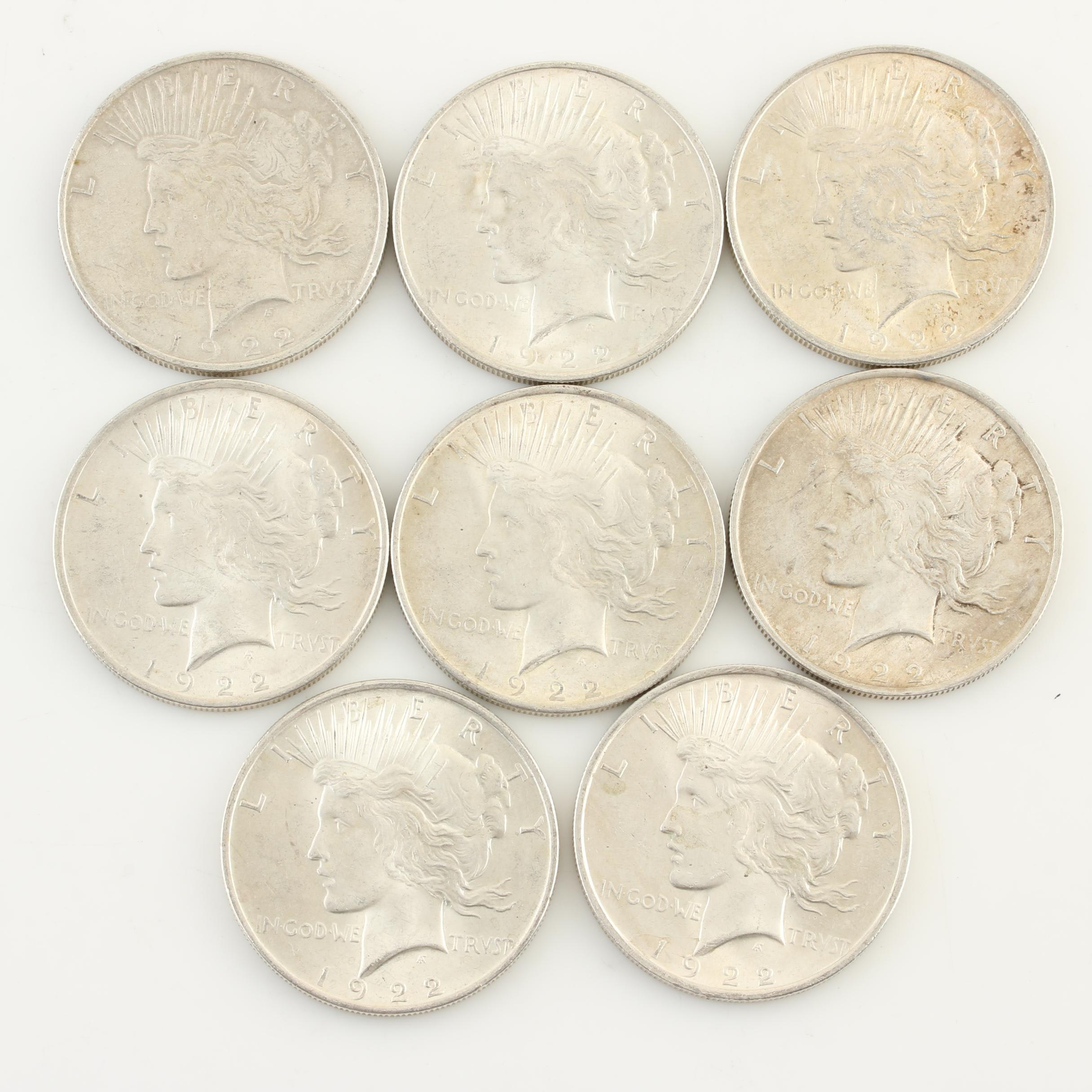 Group of Eight 1922 Silver Peace Dollars