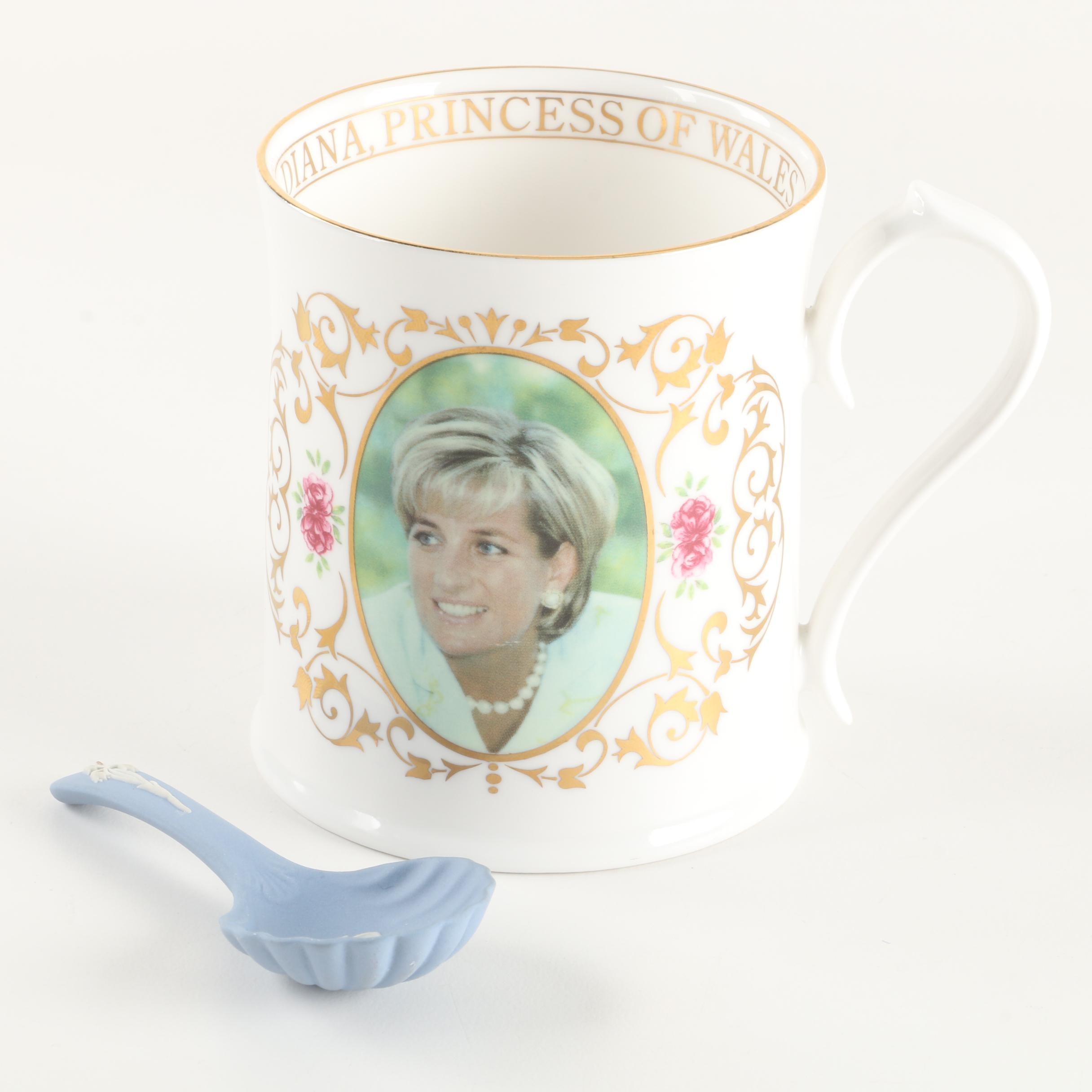 Aynsley Princess Diana Mug and Wedgwood Jasperware Christening Spoon