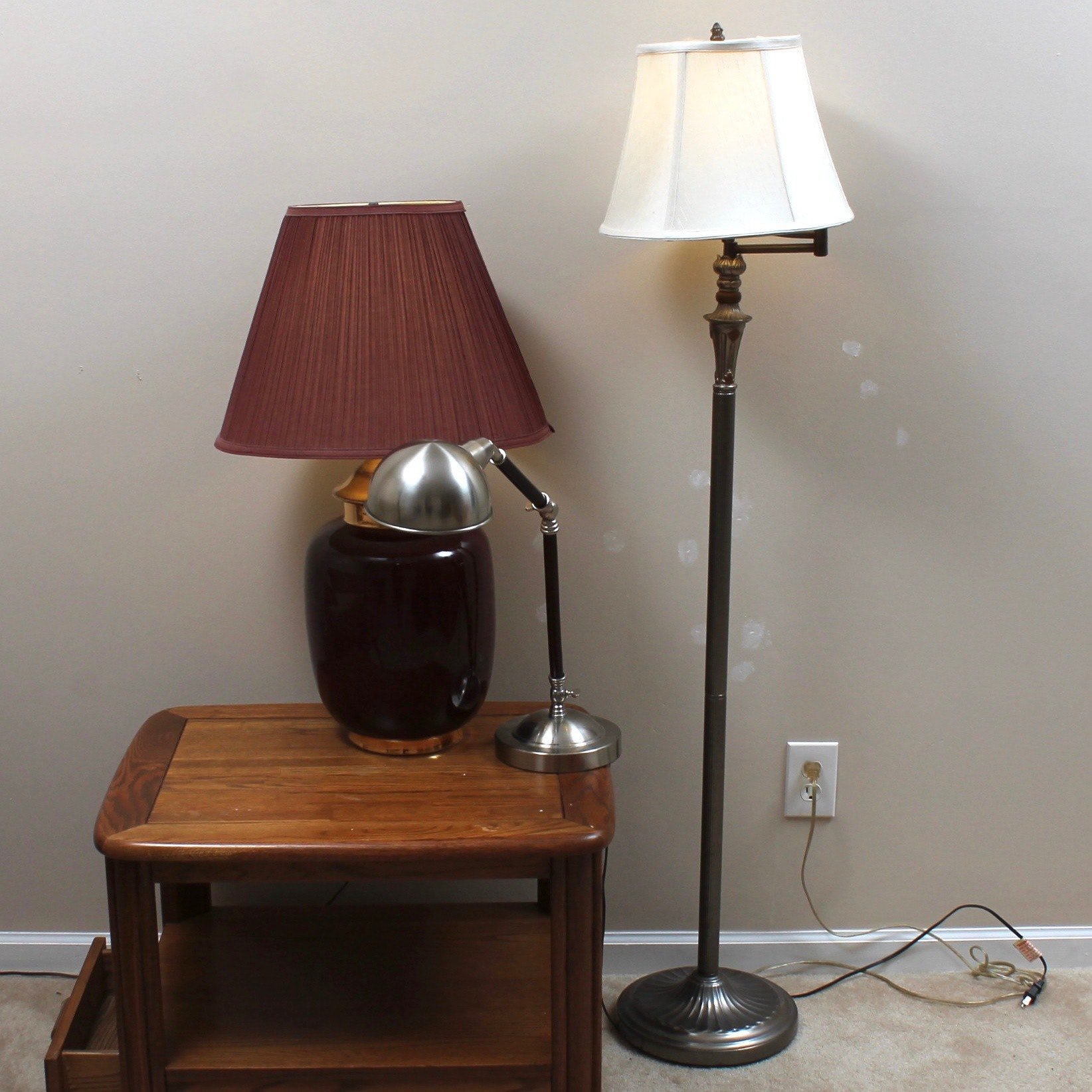 Ceramic Table Lamp, Metal Desk Lamp, and Metal Floor Lamp