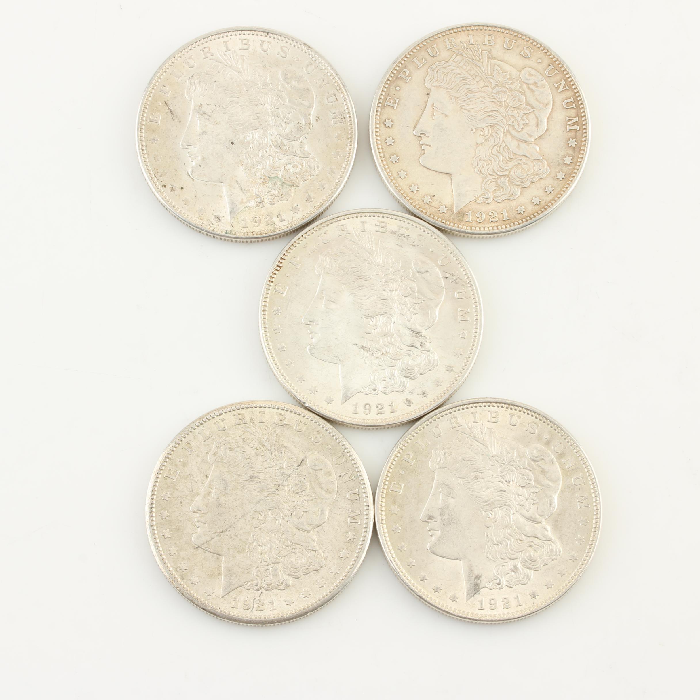 Group of Five 1921 Morgan Silver Dollars