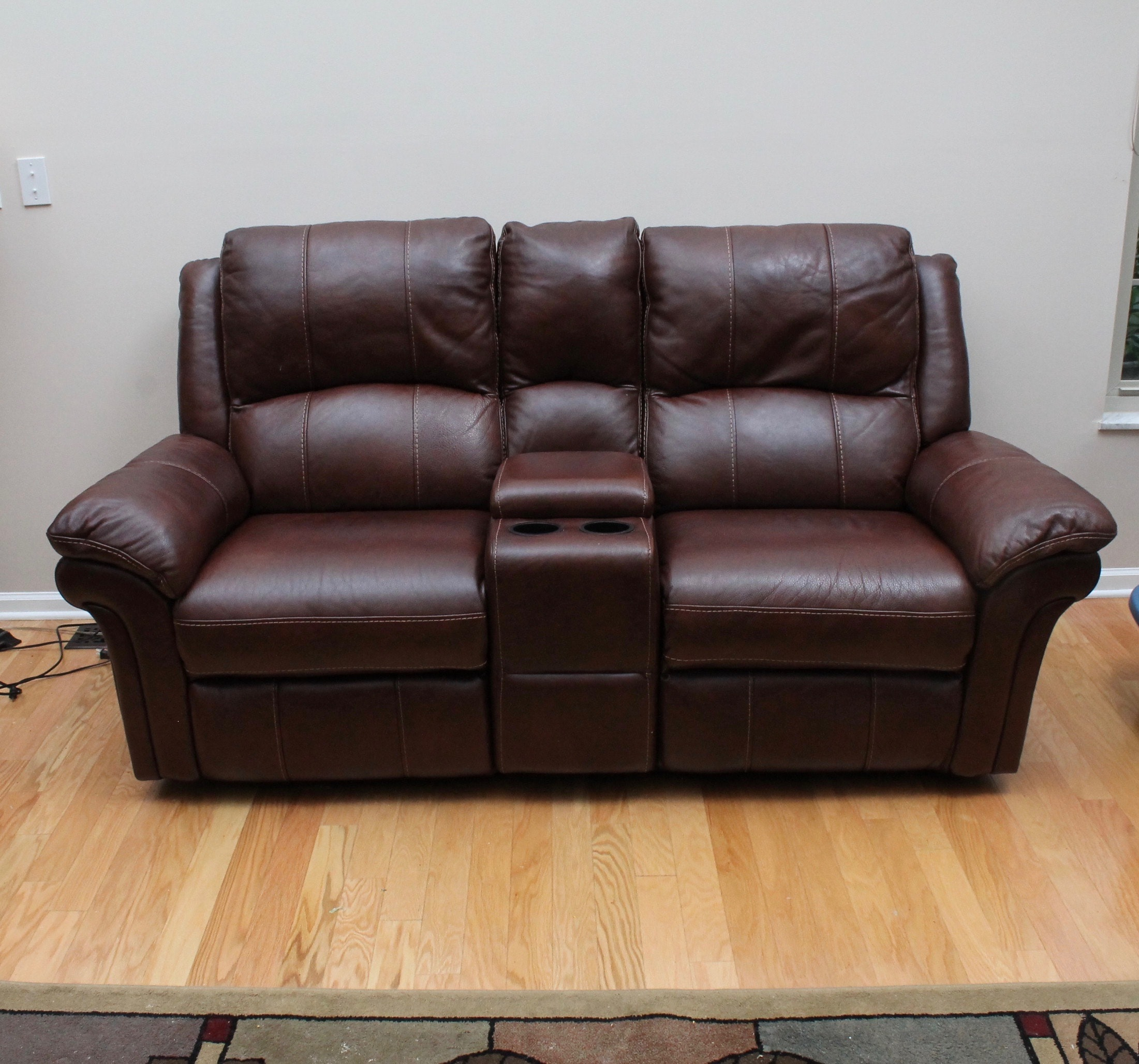 Flexsteel Motorized Reclining Brown Leather Sofa