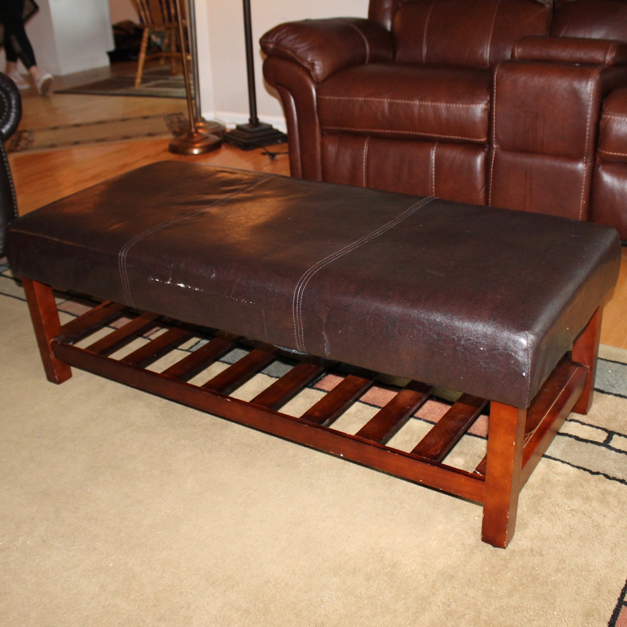 Faux Leather Top Coffee Table Ottoman