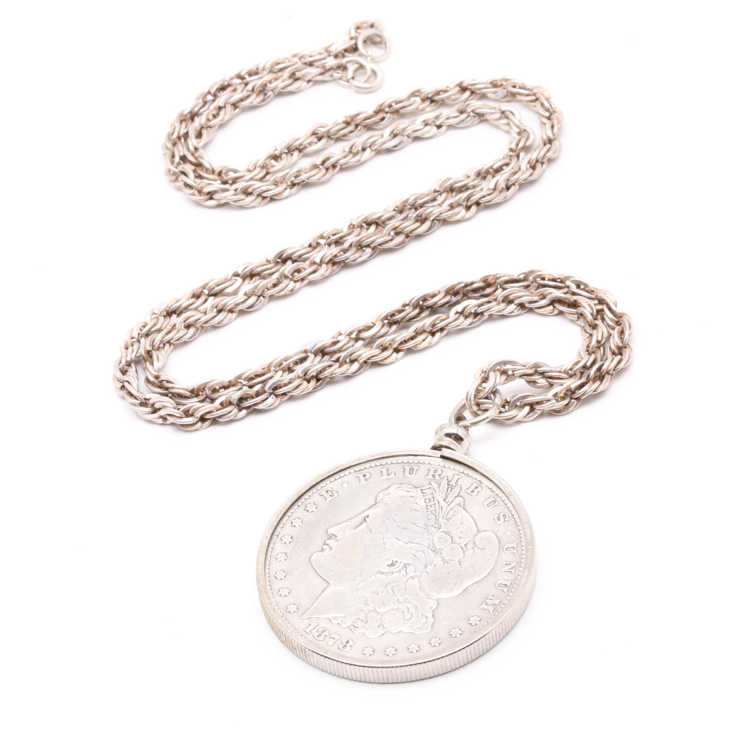 Sterling Silver 1878 Silver Morgan Dollar Pendant Necklace