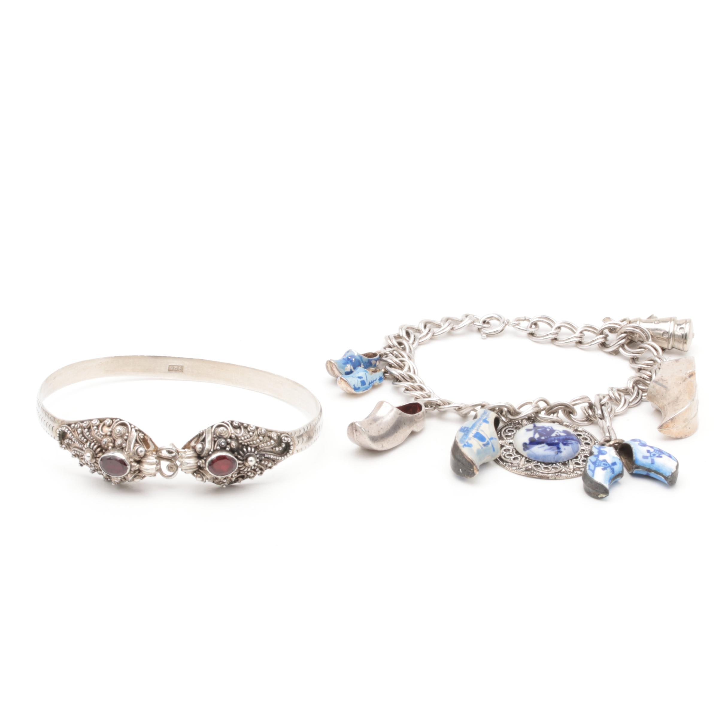 Sterling Silver Charm and Bangle Bracelets Including Enamel and 835 Silver