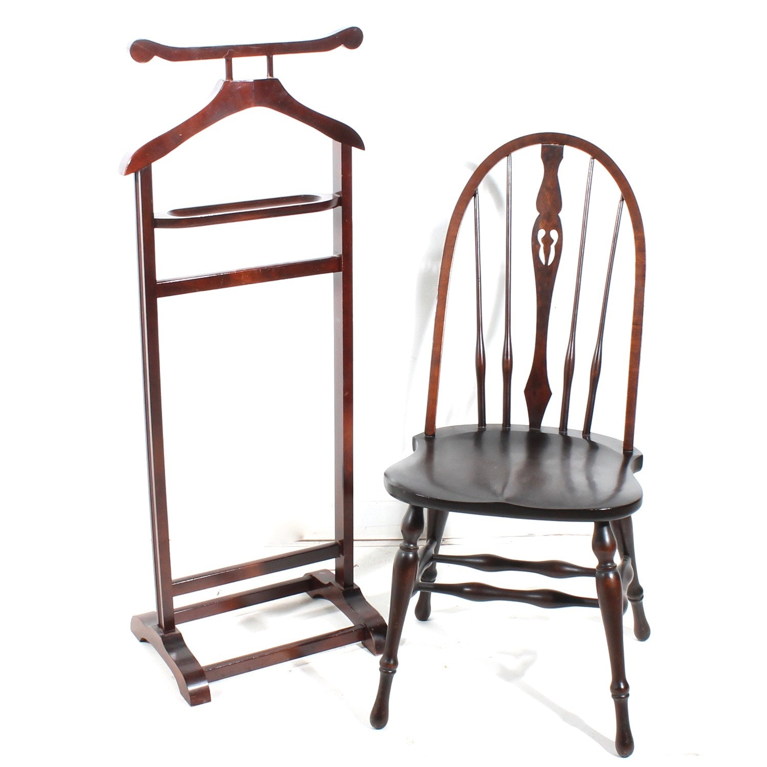 Vintage Wood Chair and Dressing Valet