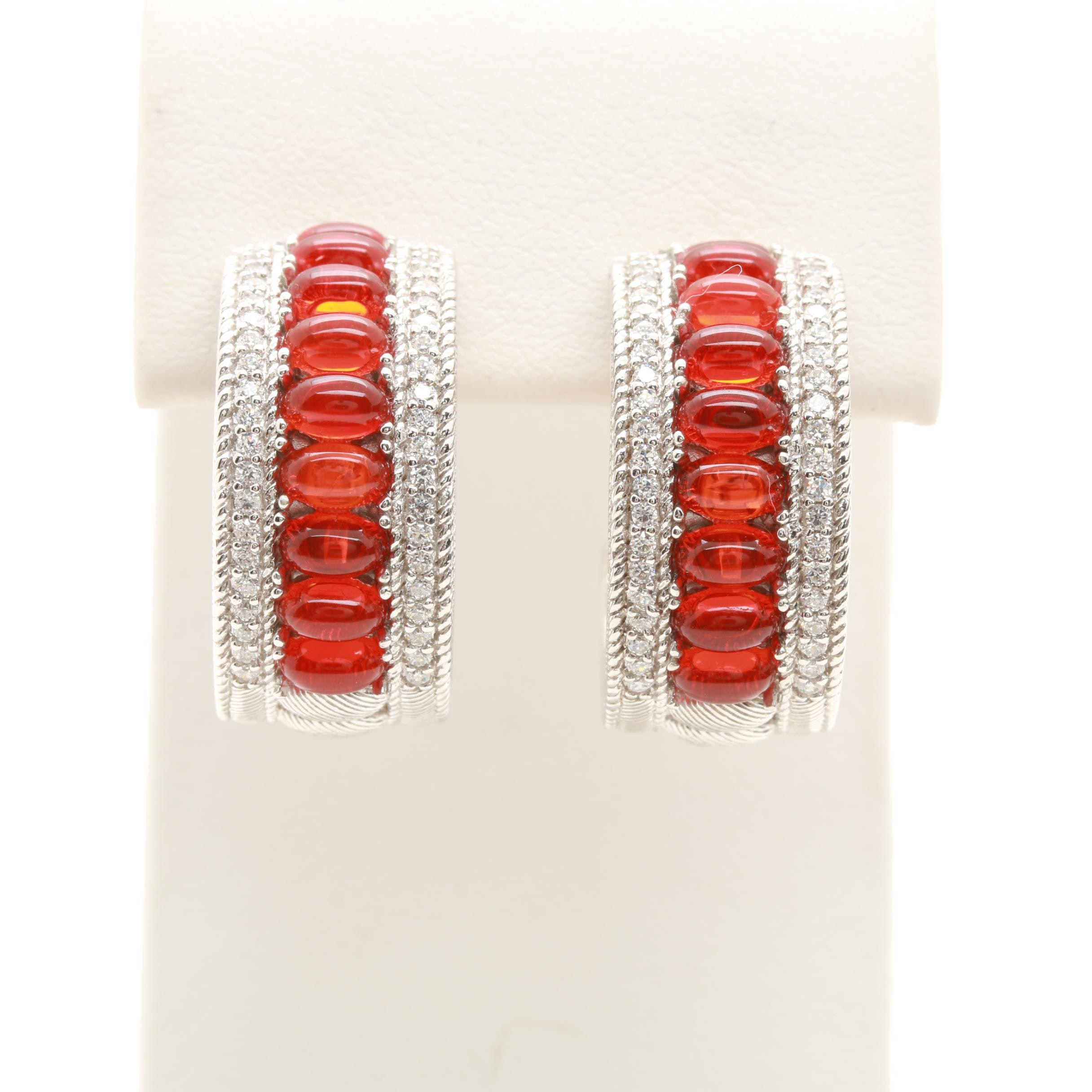 Judith Ripka Sterling Silver Fire Opal and Cubic Zirconia Hoop Earrings