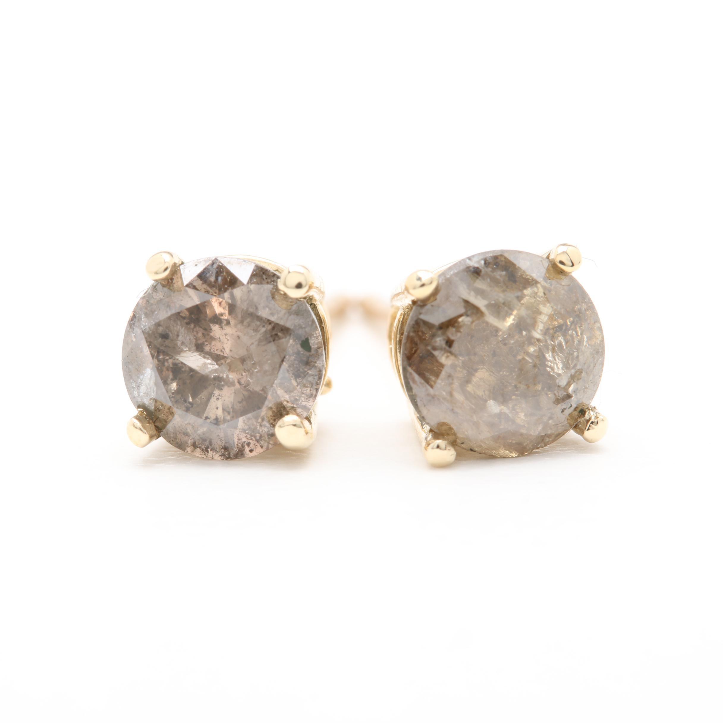 14K Yellow Gold 1.25 CTW Diamond Stud Earrings