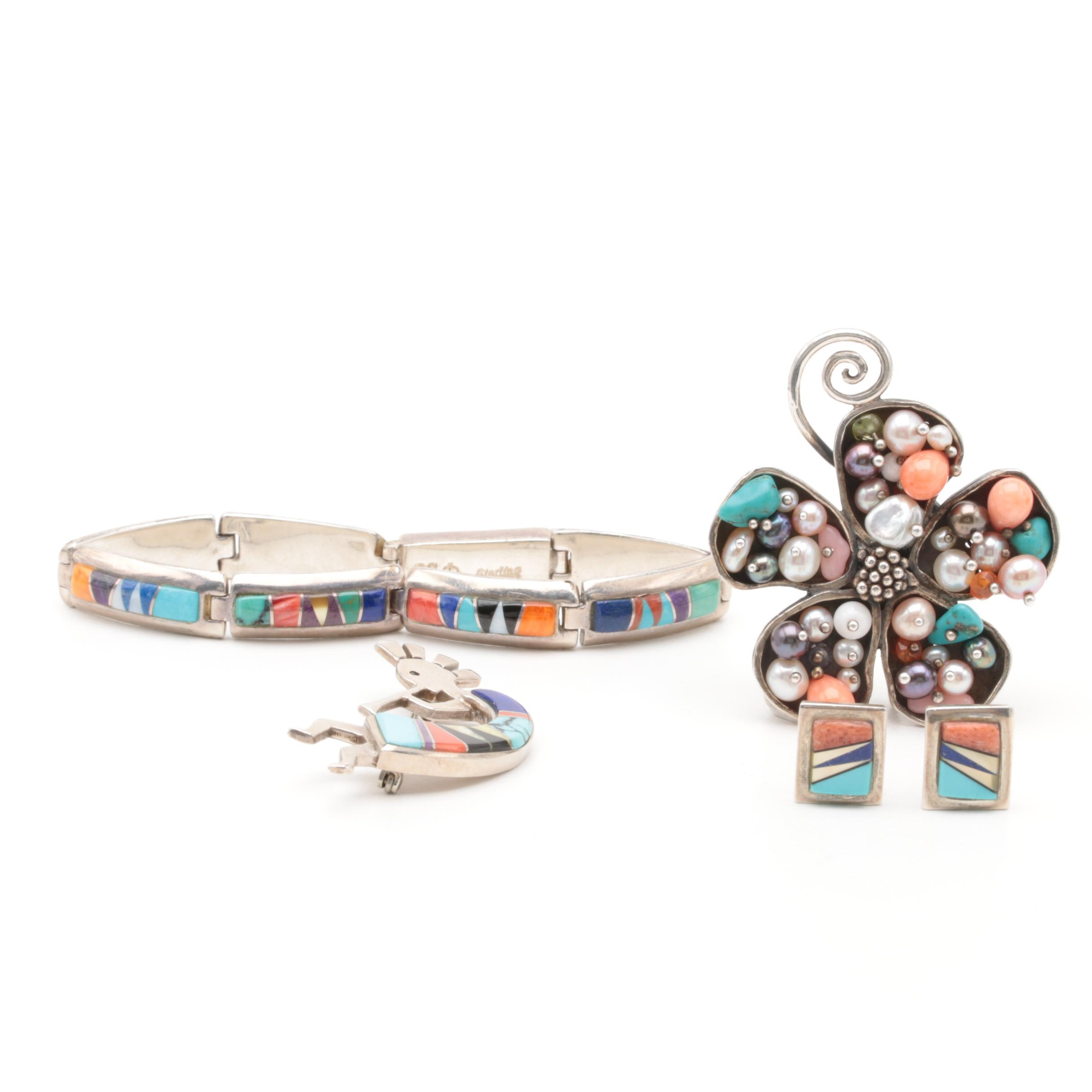 Southwestern Style Sterling Silver Jewelry Including B G Mudd and Turquoise