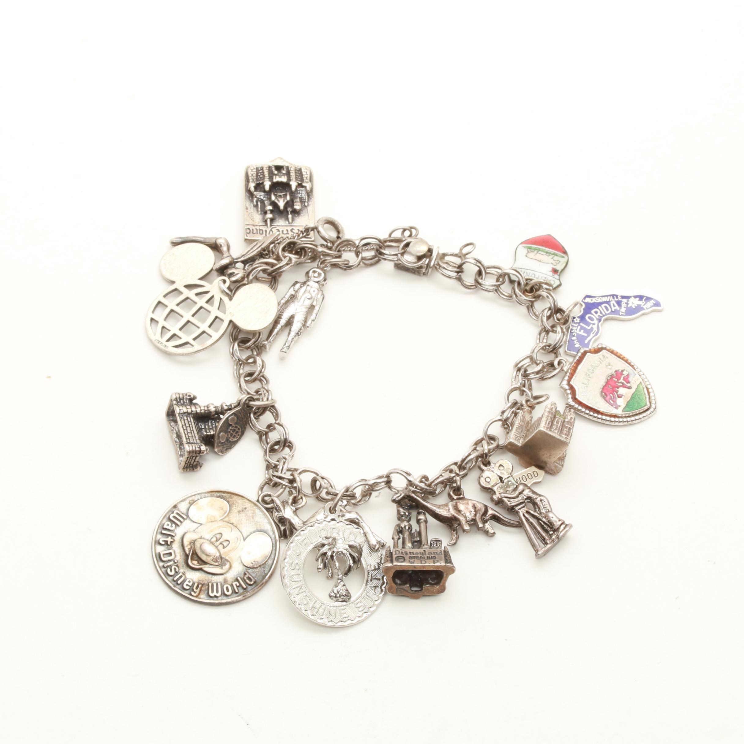 Sterling Silver Charm Bracelet Including Disney Charms Ebth