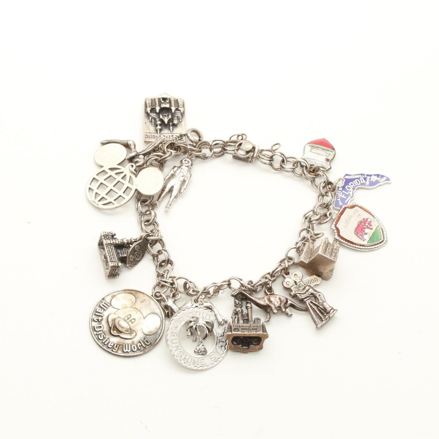 Sterling Silver Charm Bracelet Including Disney Charms
