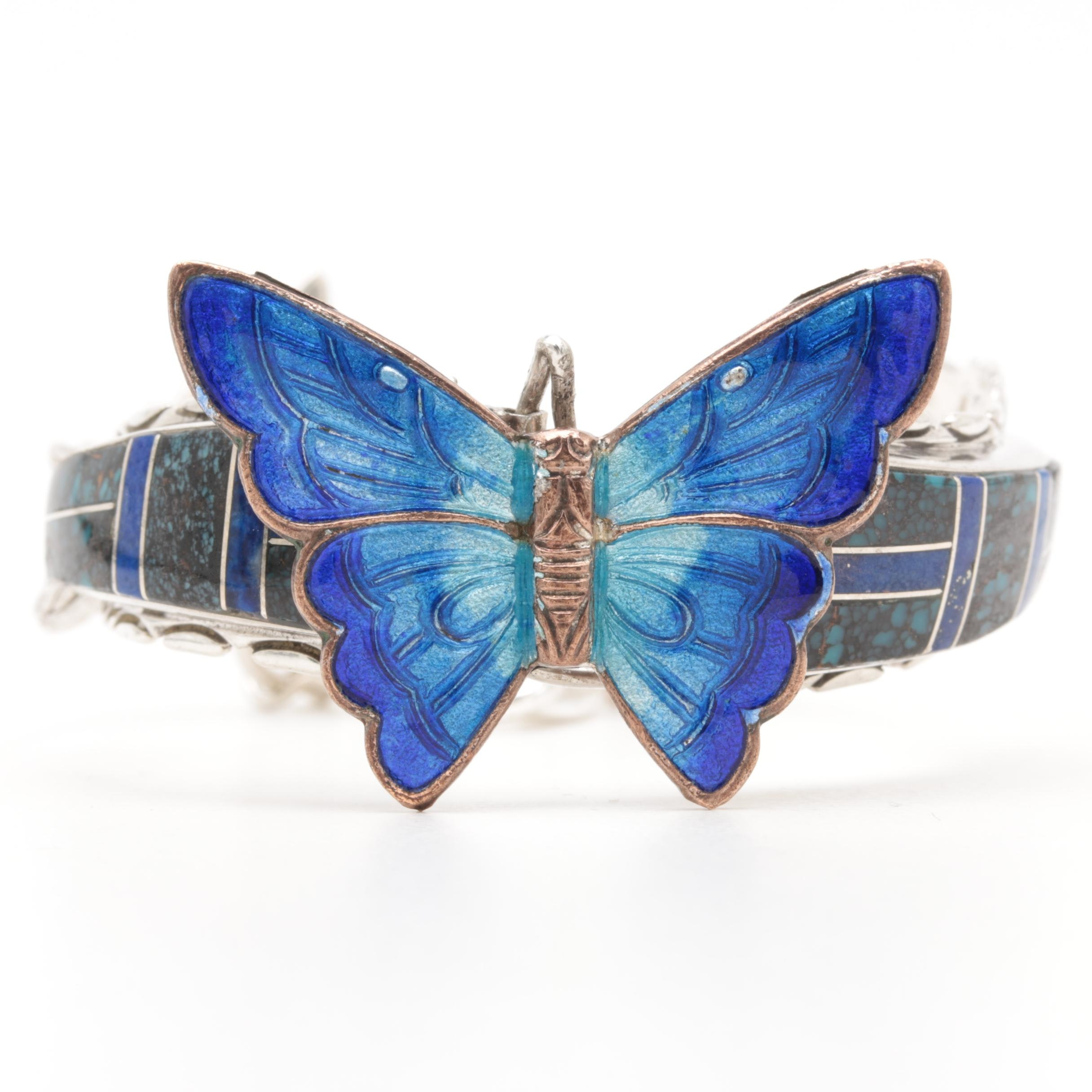 Sterling Silver Turquoise and Lapis Lazuli Butterfly Bracelet with Copper