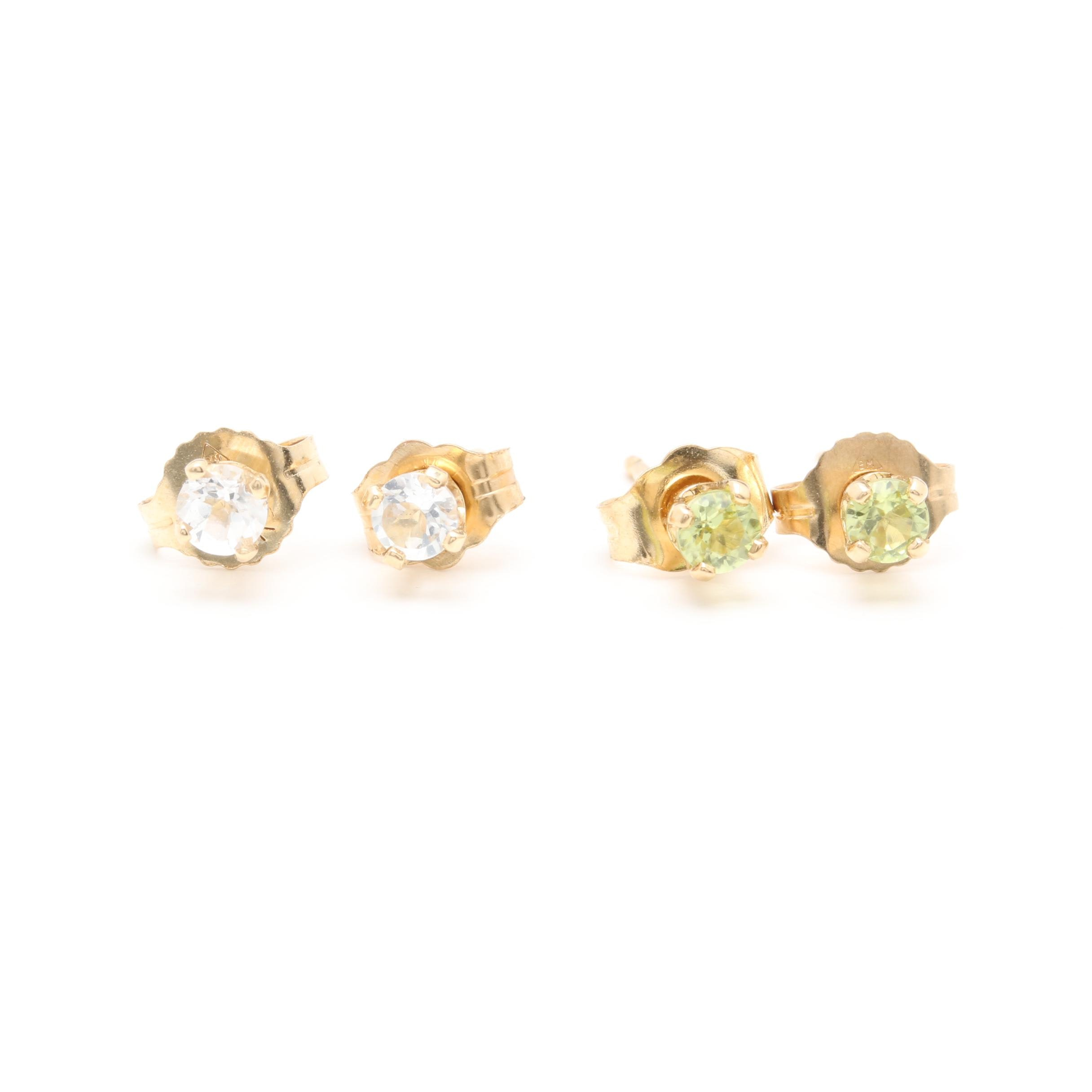 14K Yellow Gold Citrine and White Sapphire Stud Earrings