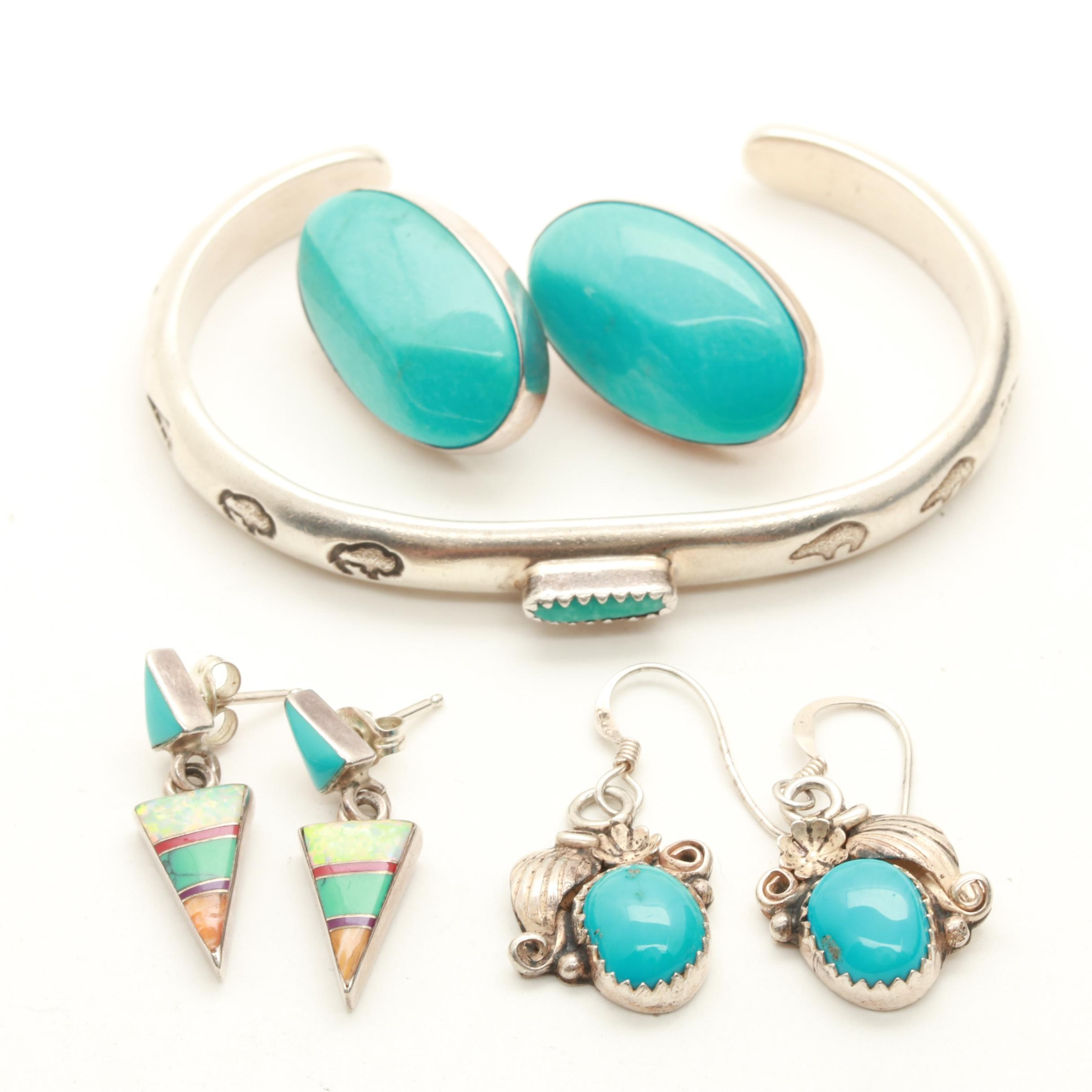 Southwestern Style Sterling Silver Cuff and Earrings Including Turquoise