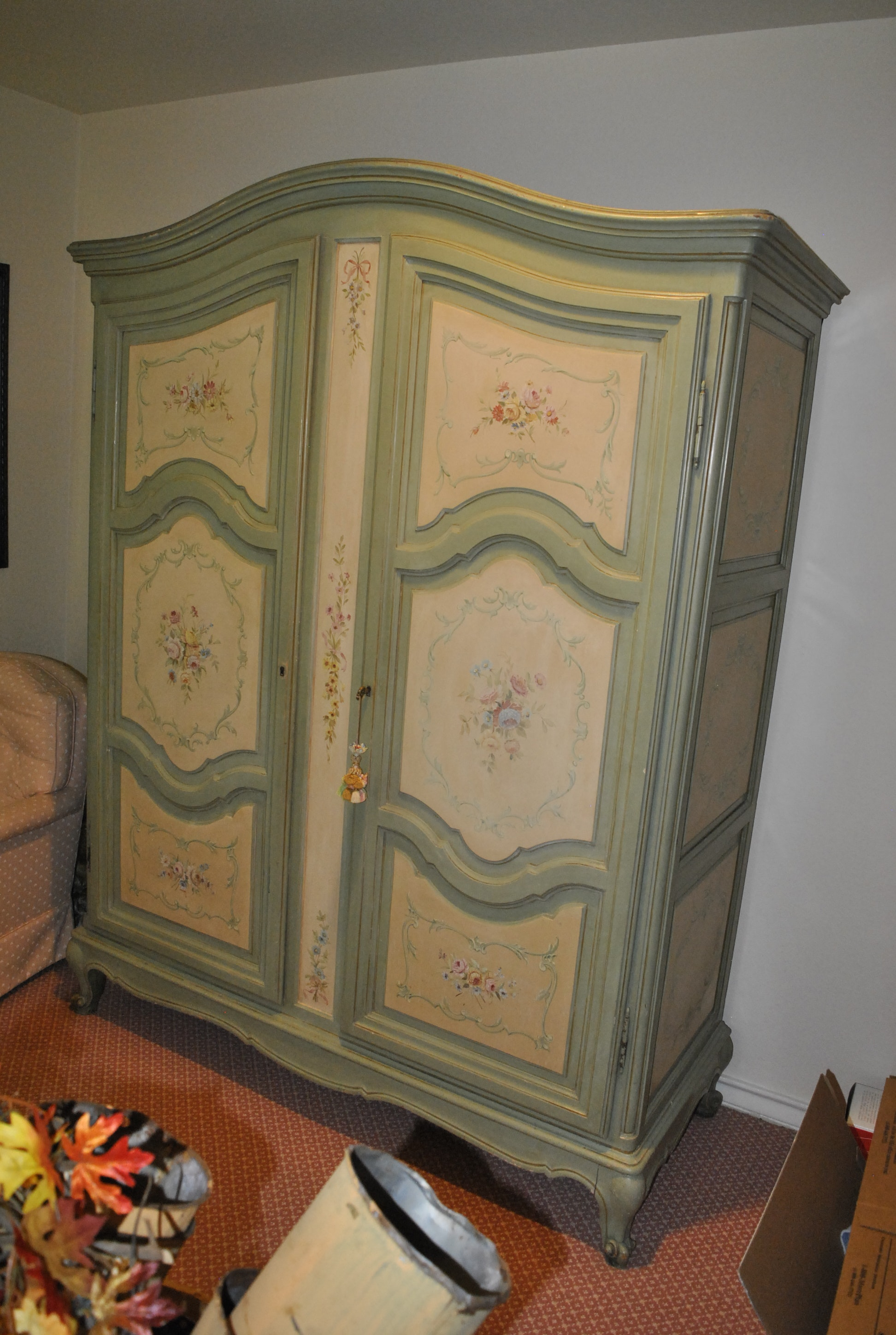 Vintage French Provincial Style Painted Wardrobe