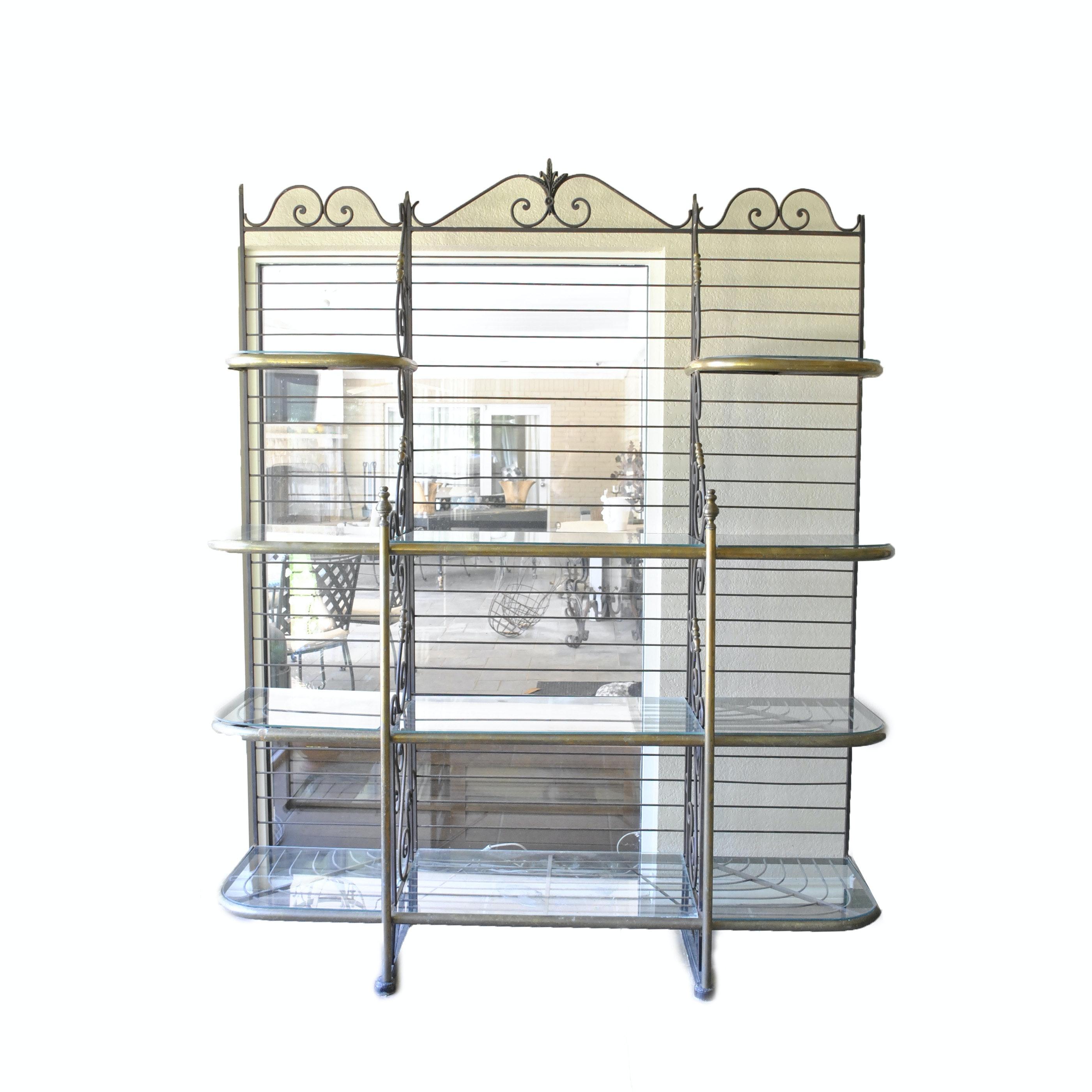 Metal and Glass Étagère Style Shelving Unit
