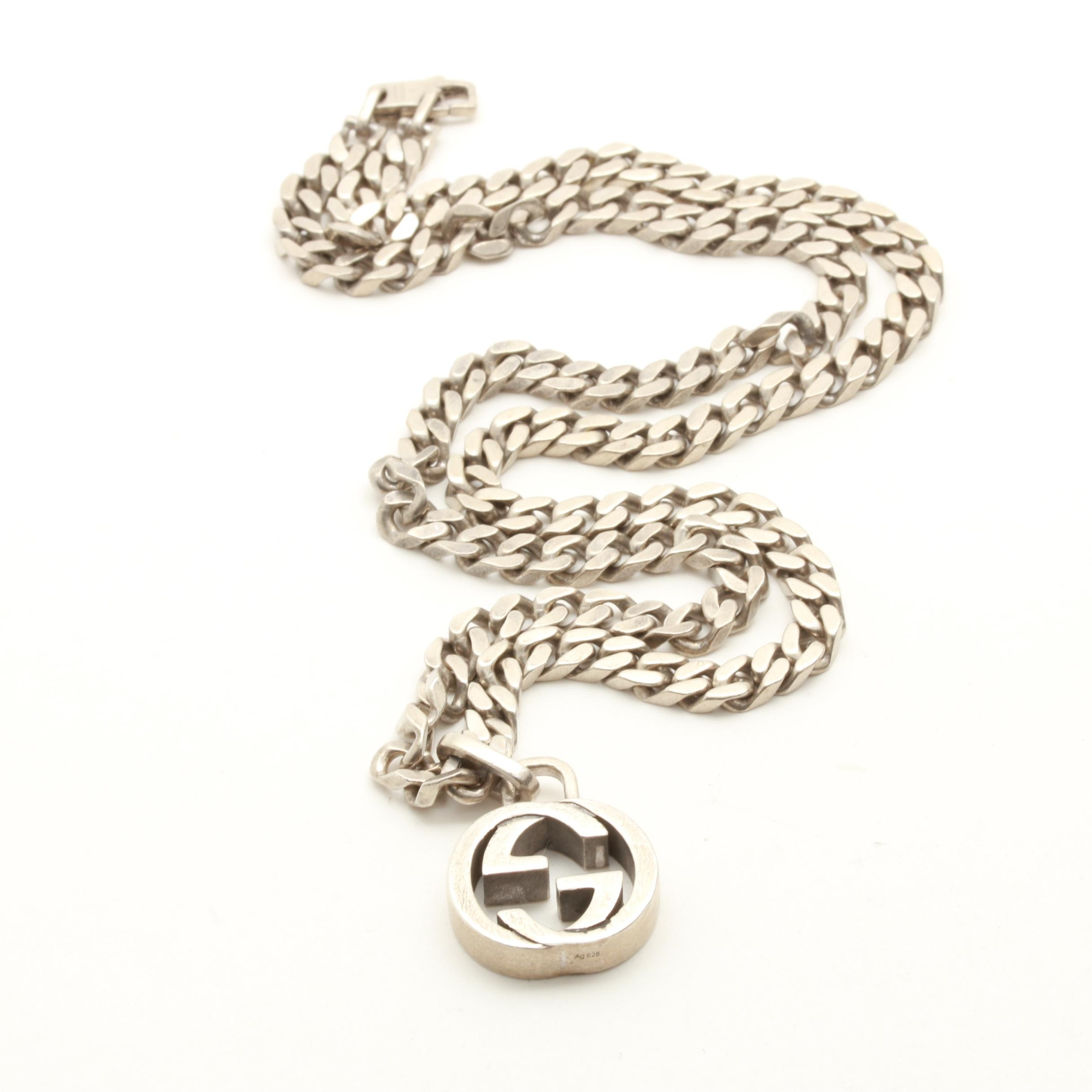 Gucci Sterling Silver Curb Link Chain Necklace