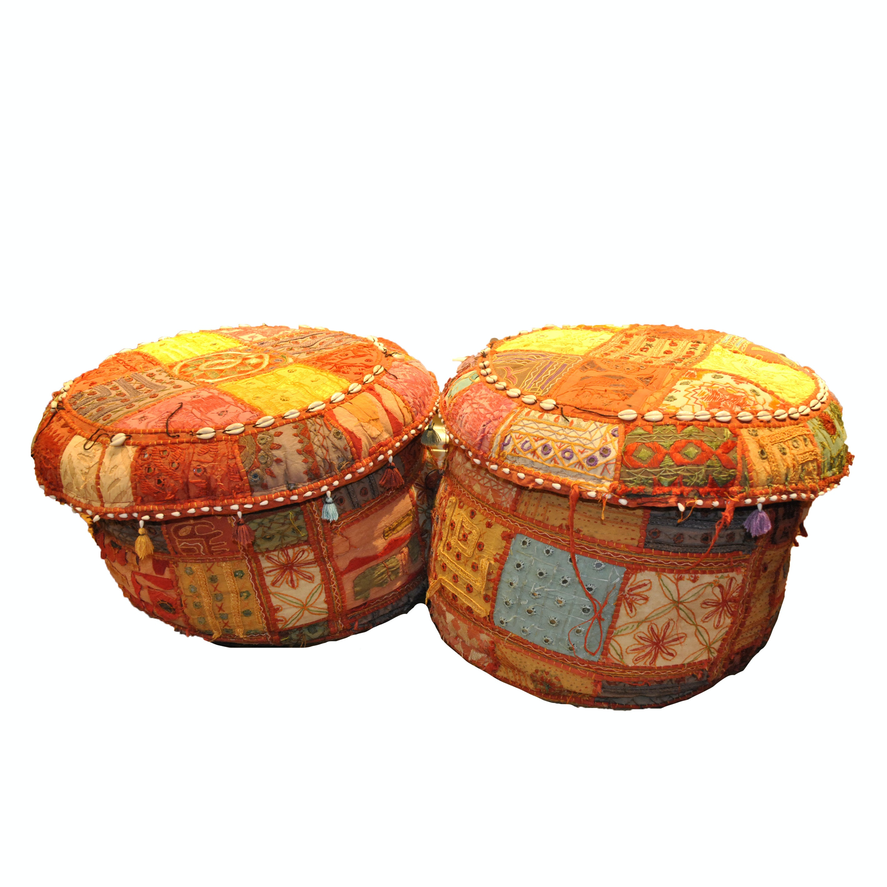 Bright Patchwork and Shell Accented Fabric Pouf Pair