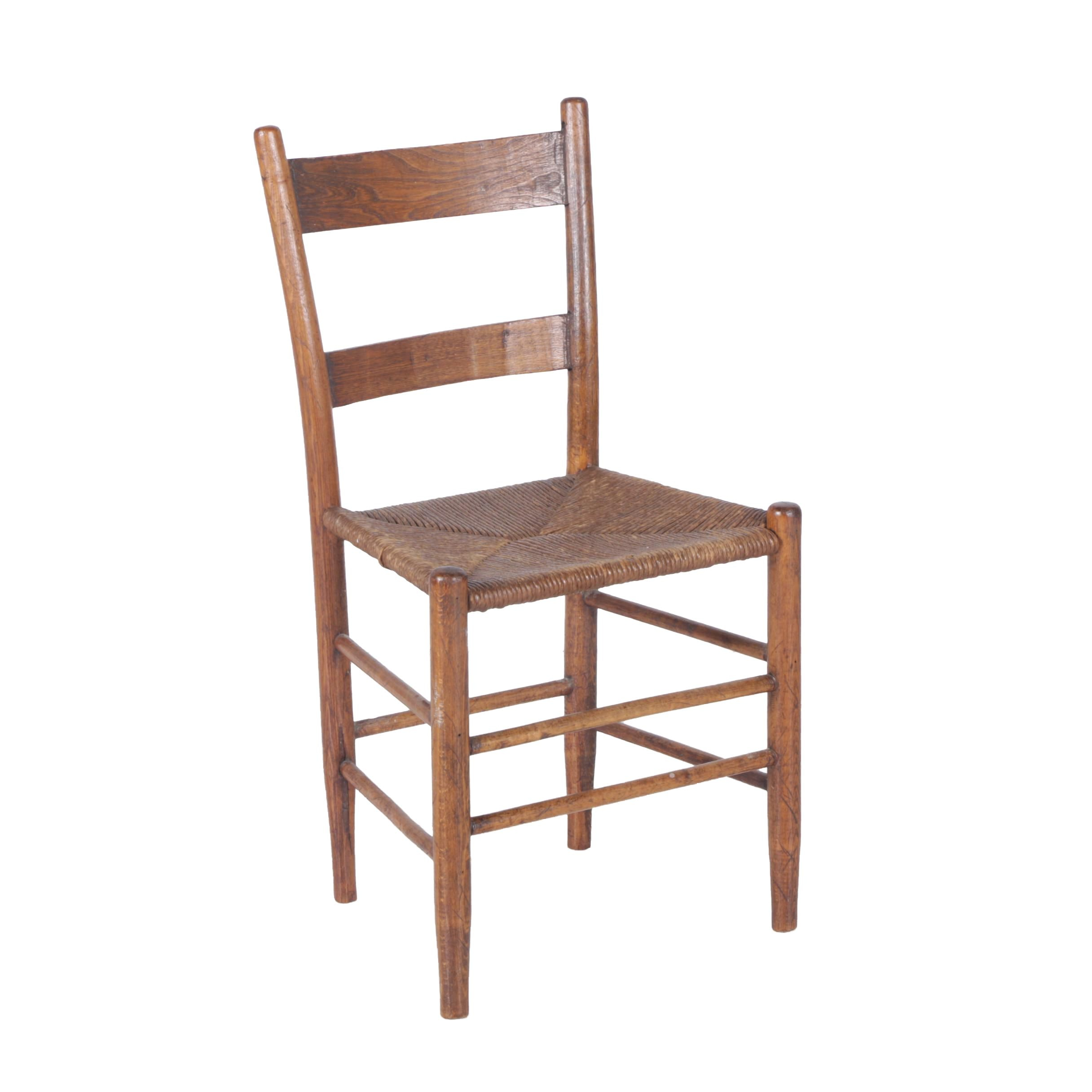 Oak Ladder Back Chair With Rush Woven Seat ...