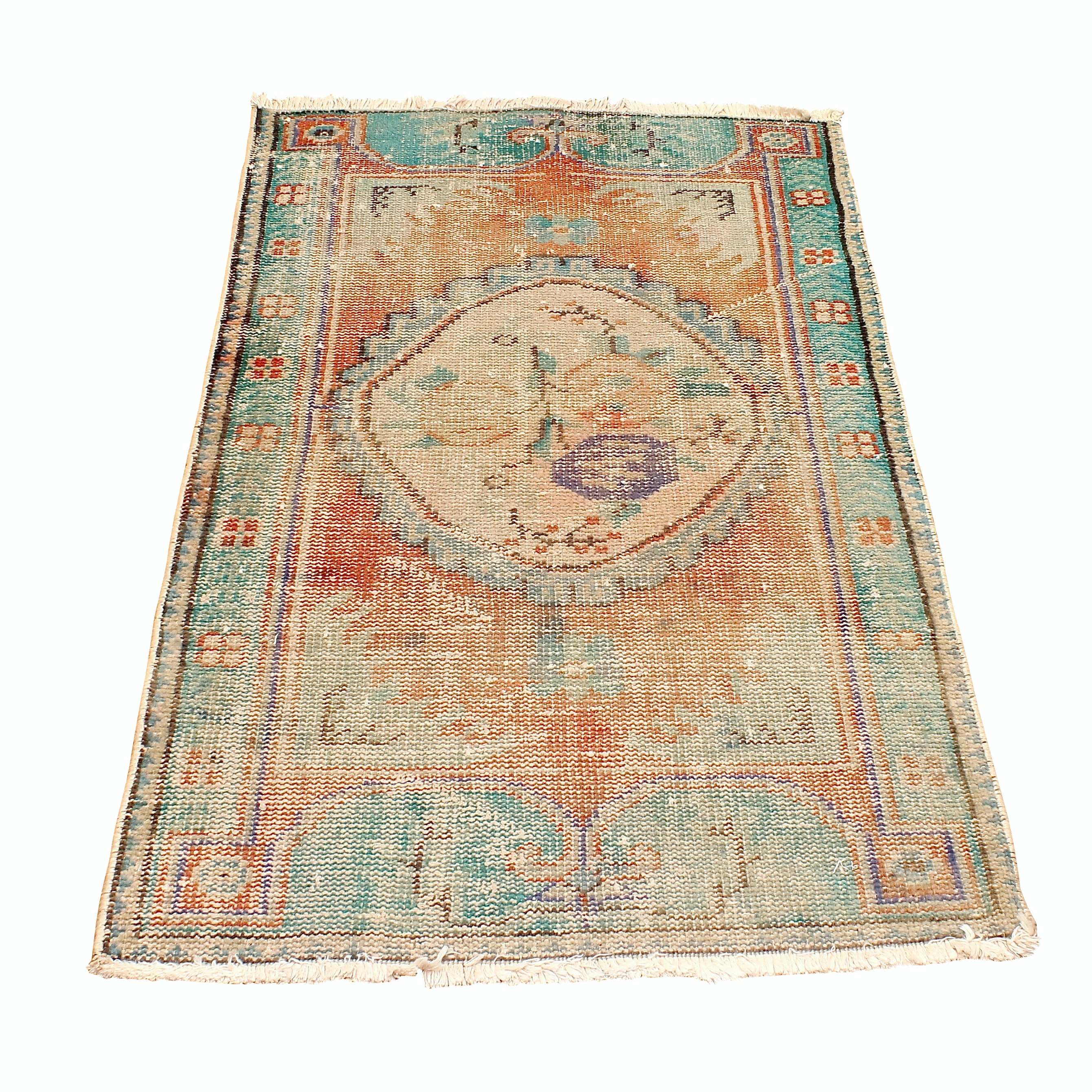 Antique Handwoven Pictorial Accent Rug