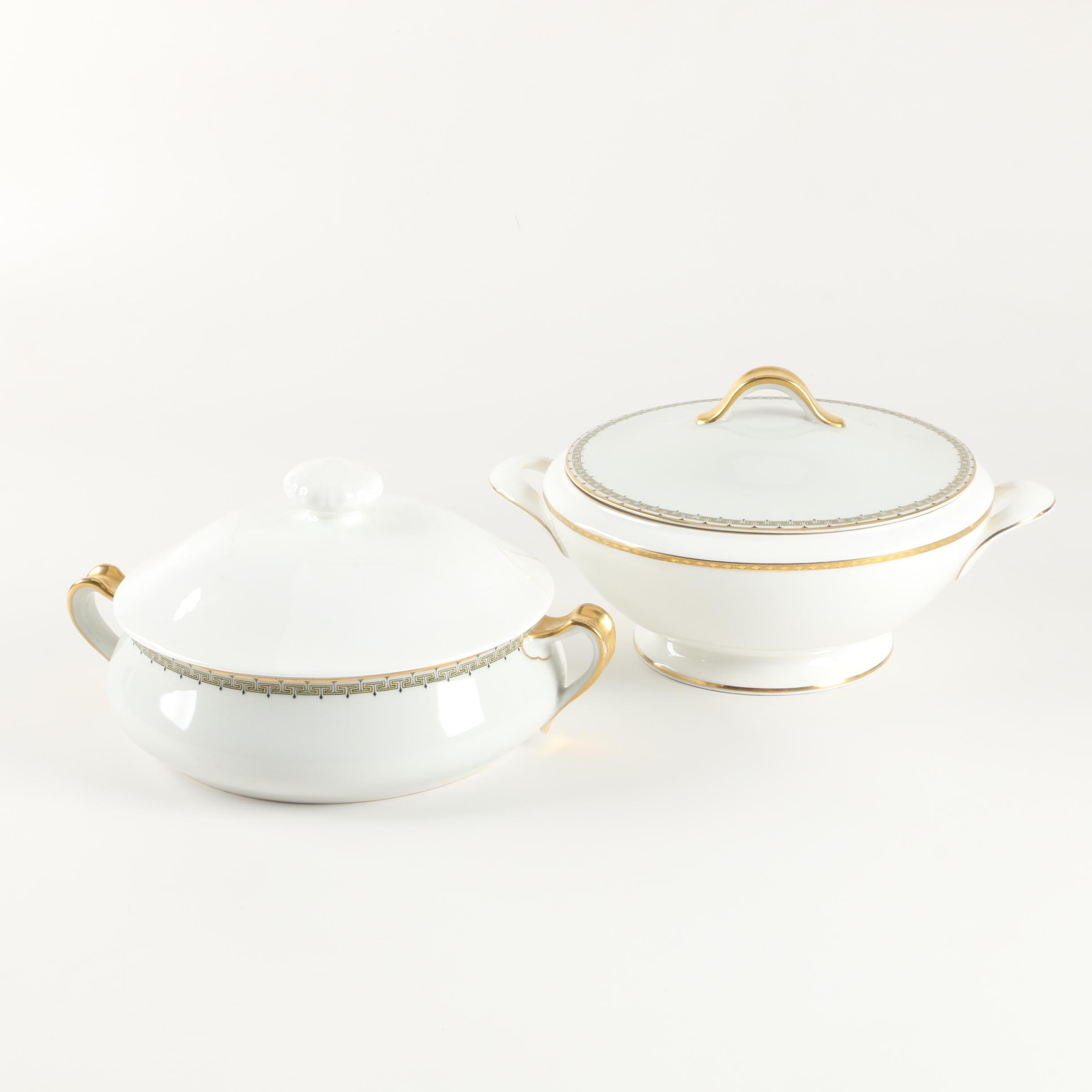 "Haviland Limoges ""Albany"" and Minton ""Golden Heritage"" Covered Vegetable Bowls"