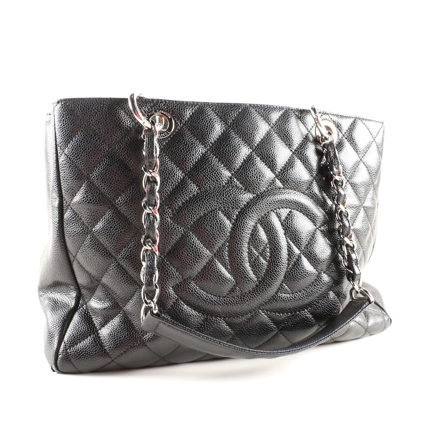 be0f1bd00e2703 Chanel Quilted Black Caviar Leather CC Tote Bag : EBTH