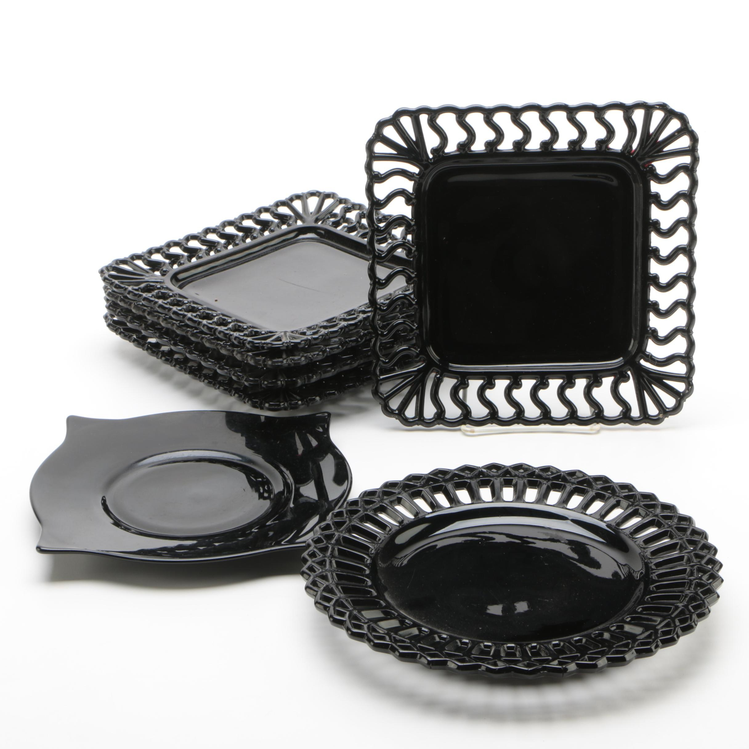 Reticulated Black Glass Plates