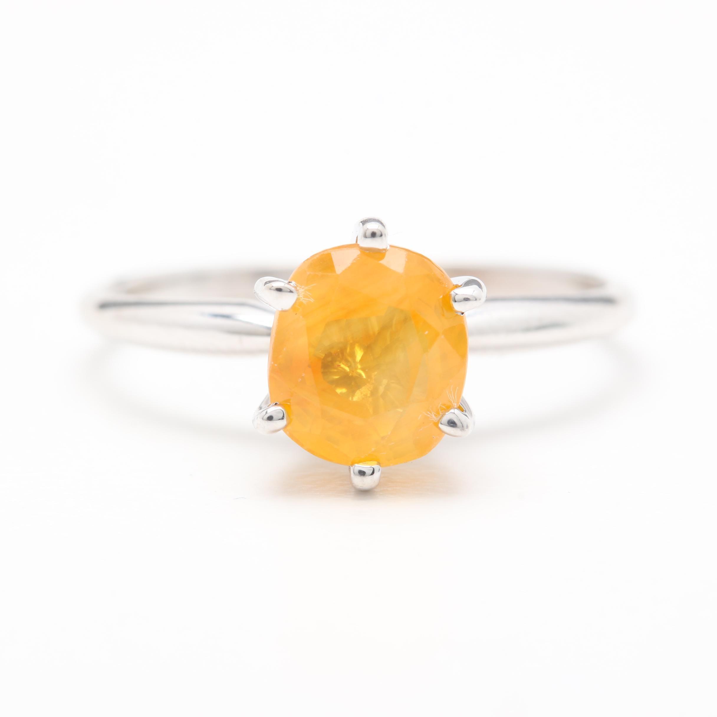 14K White Gold 1.51 CT Yellow Sapphire Ring