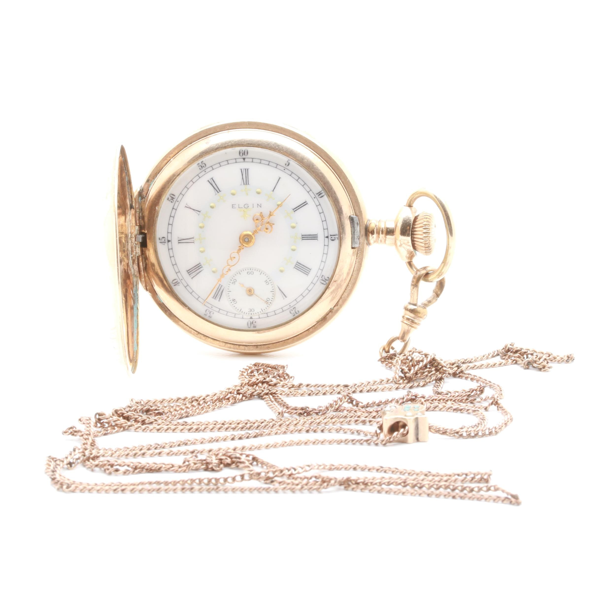 Antique Elgin Gold-Filled White Dial Pocket Watch with Fob
