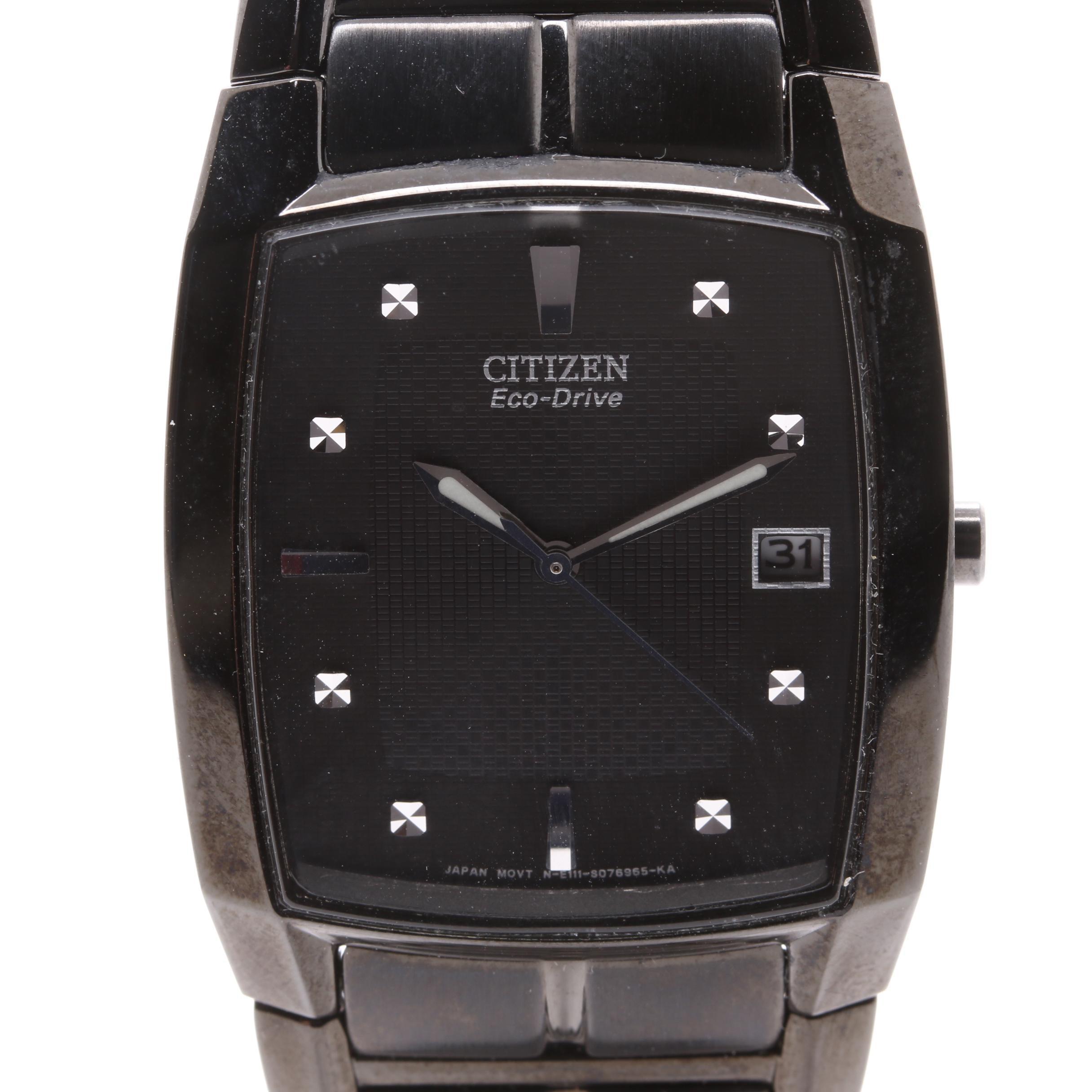 Citizen Eco-Drive Black Ion Plated Wristwatch