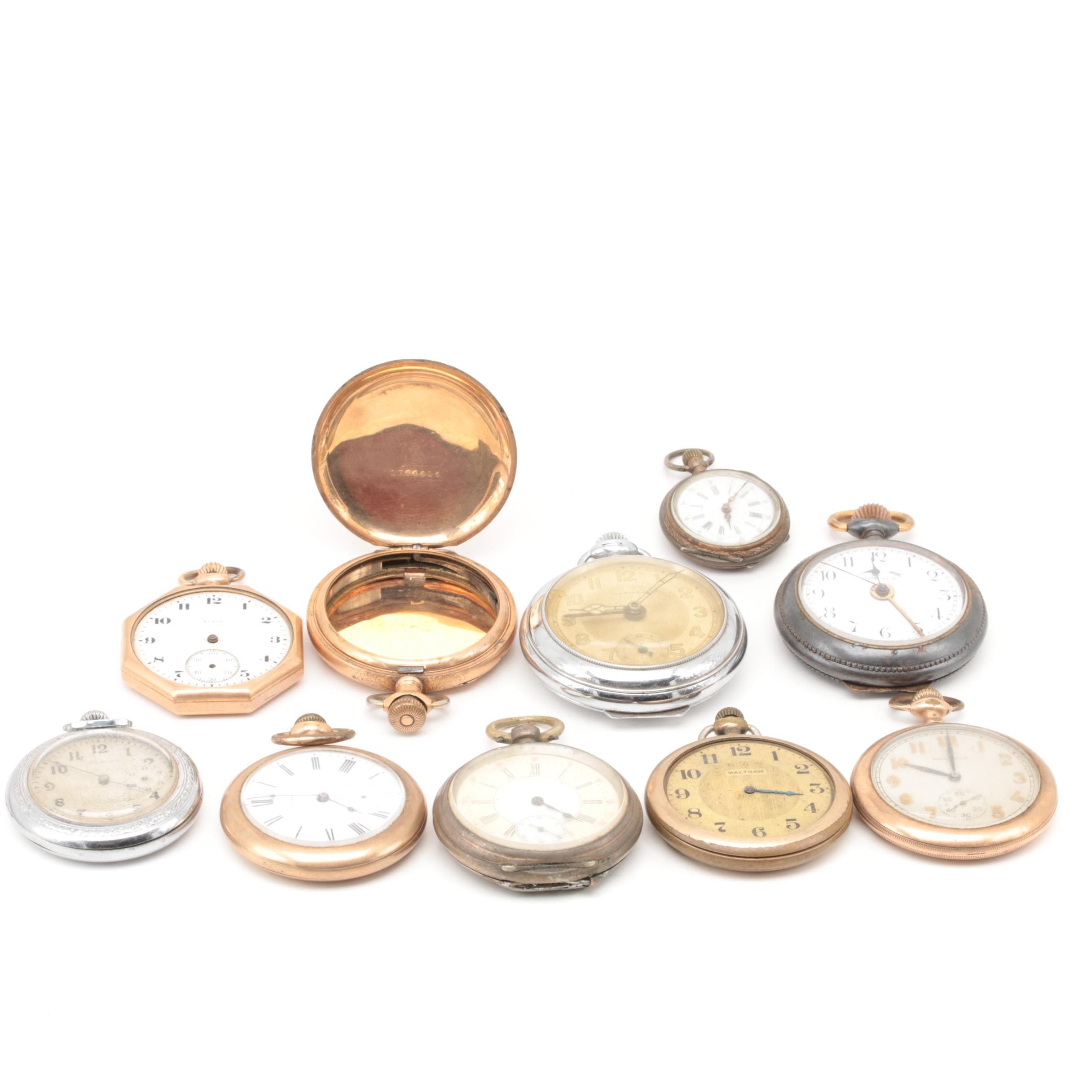 Assorted Open Face Pendant Wind Pocket Watches, Including Elgin