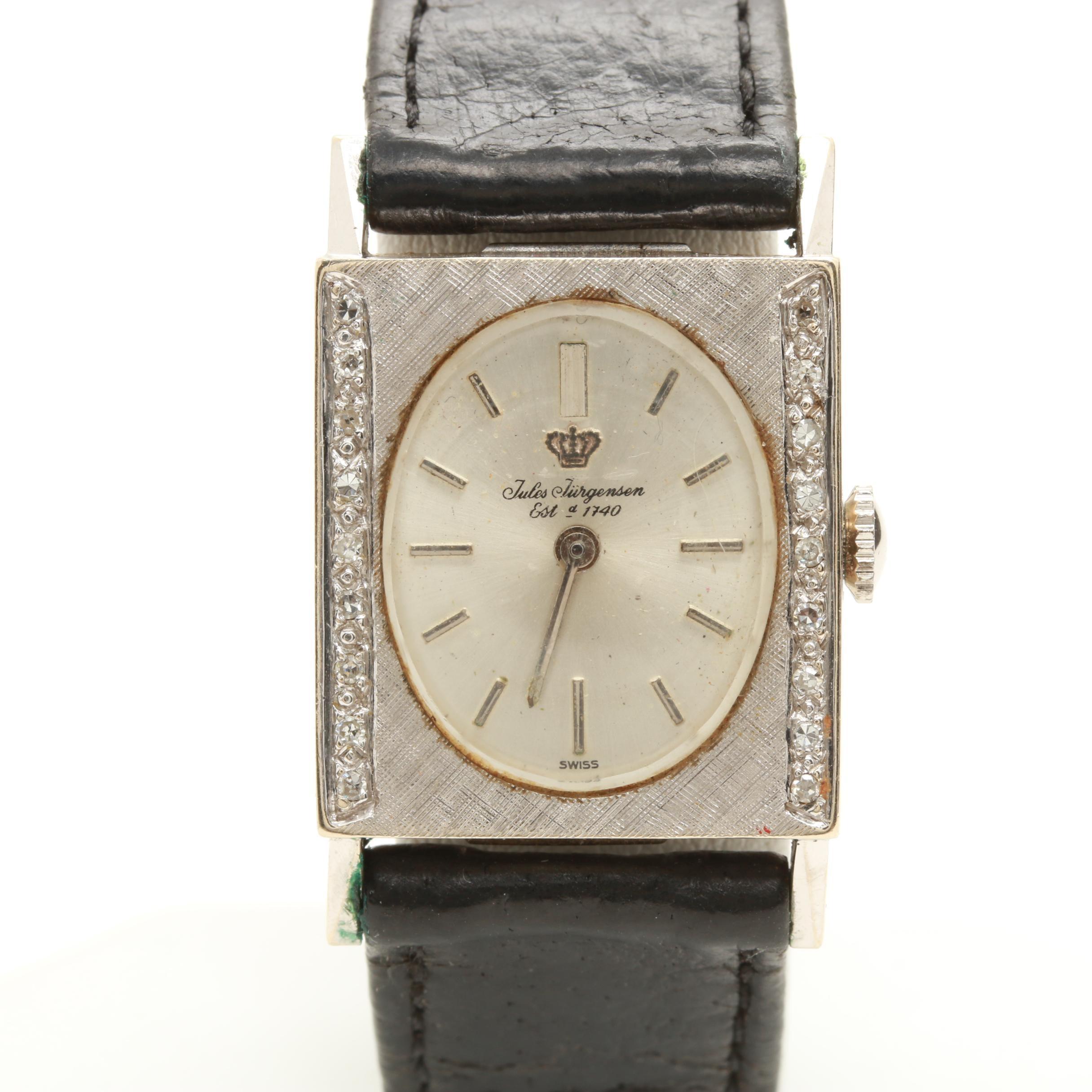 14K White Gold and Diamond Jules Jurgensen Wristwatch