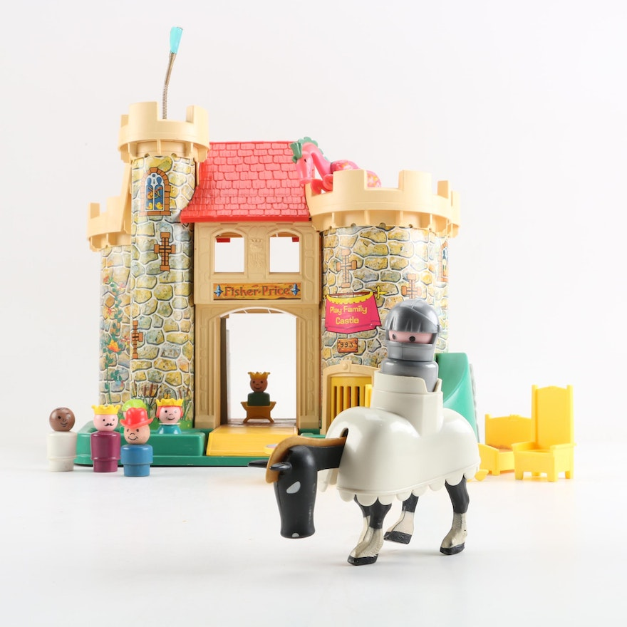 fisher price little people castle with knight horse and other