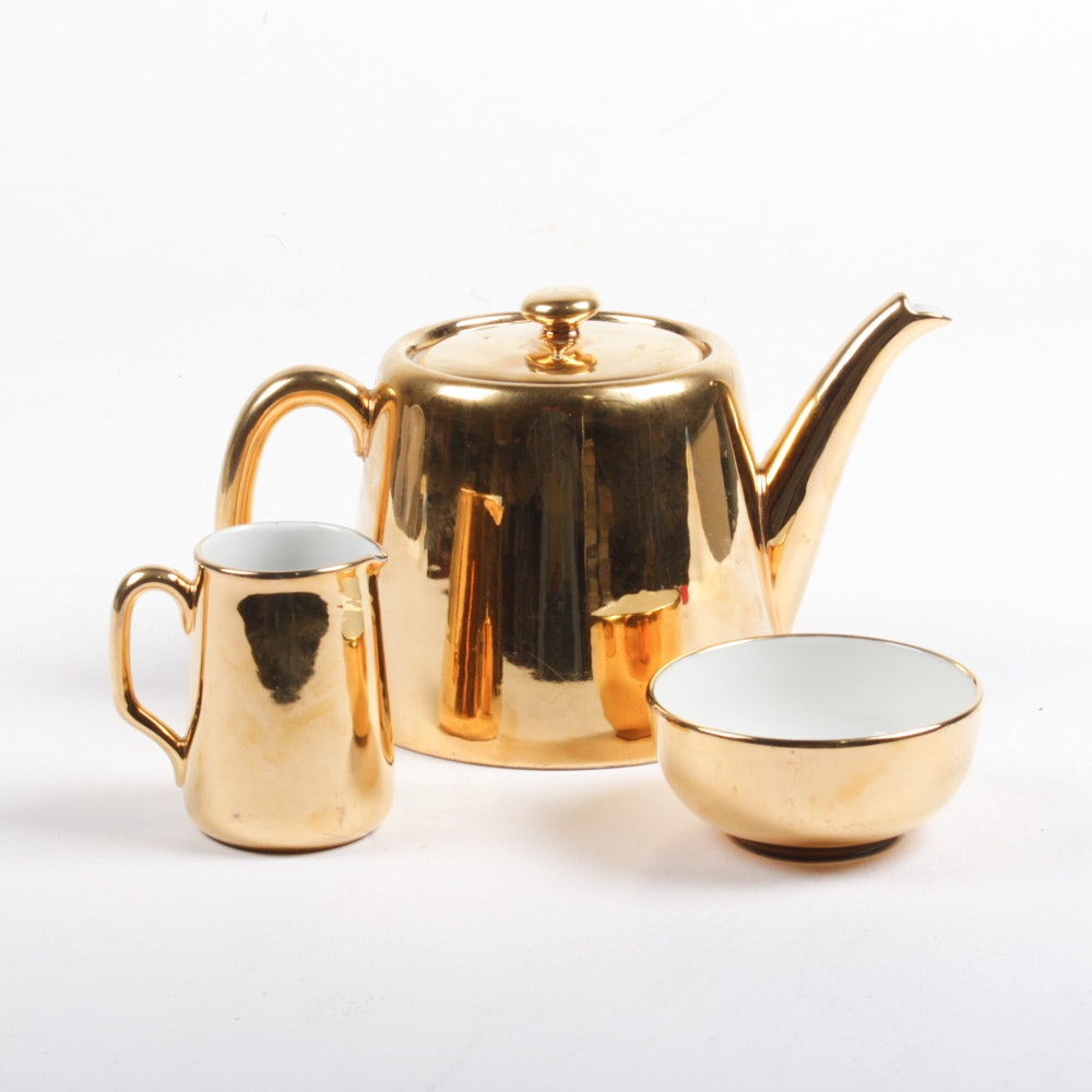 Royal Worcester Gold Fire Glaze Porcelain Tea Service