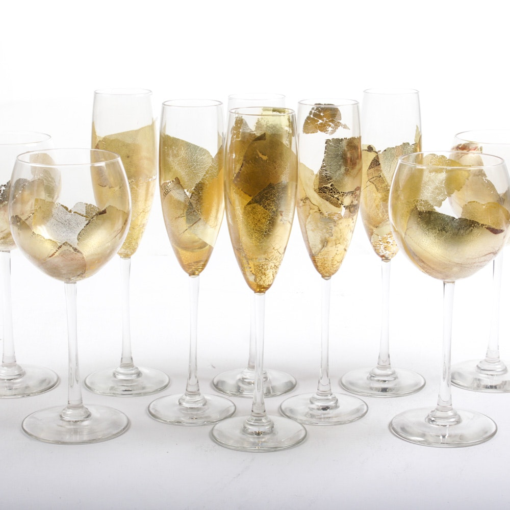 R. Strong Gold Leaf Hand Blown Wine Glasses